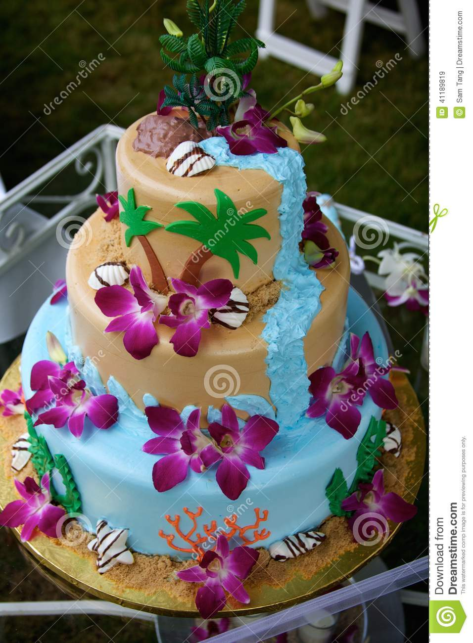 Fun Tropical Beach Wedding Cake Stock Photo Image 41189819