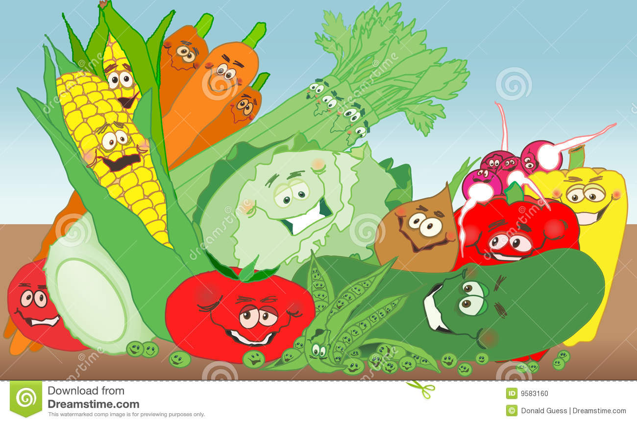 Vegetable garden graphic - Fun Vegetable Garden Stock Photo