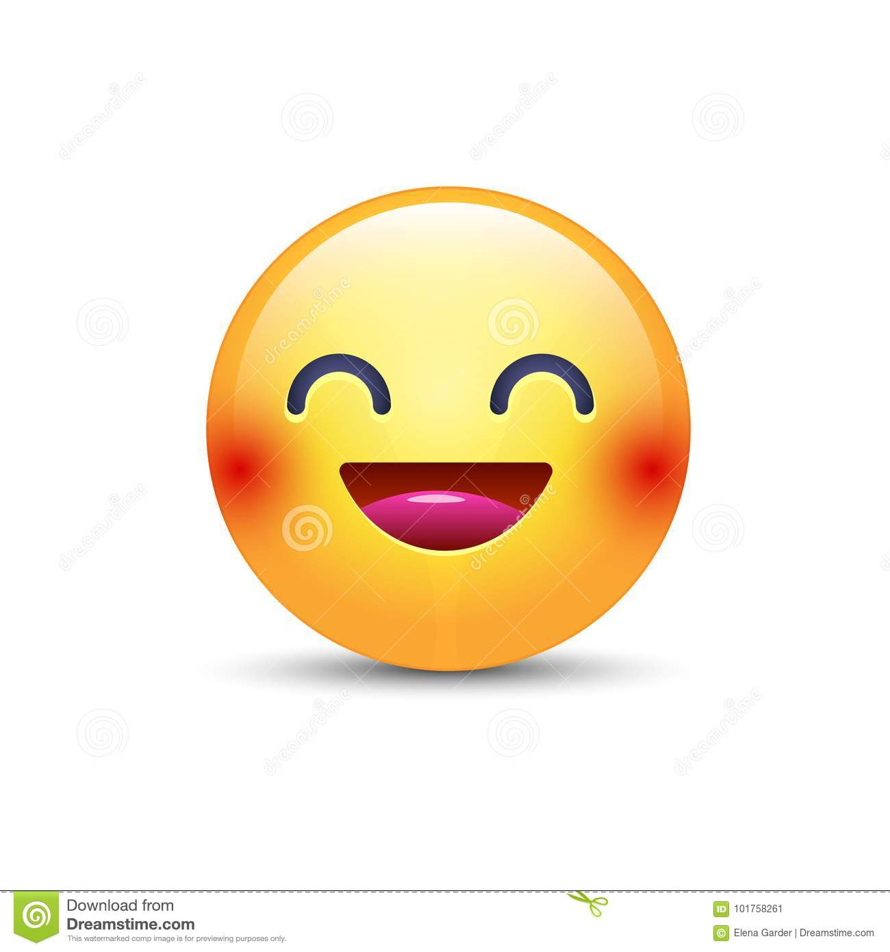 Fun Yellow Cartoon Emoji Face With Smile And Open Eyes. Cute Vector ...