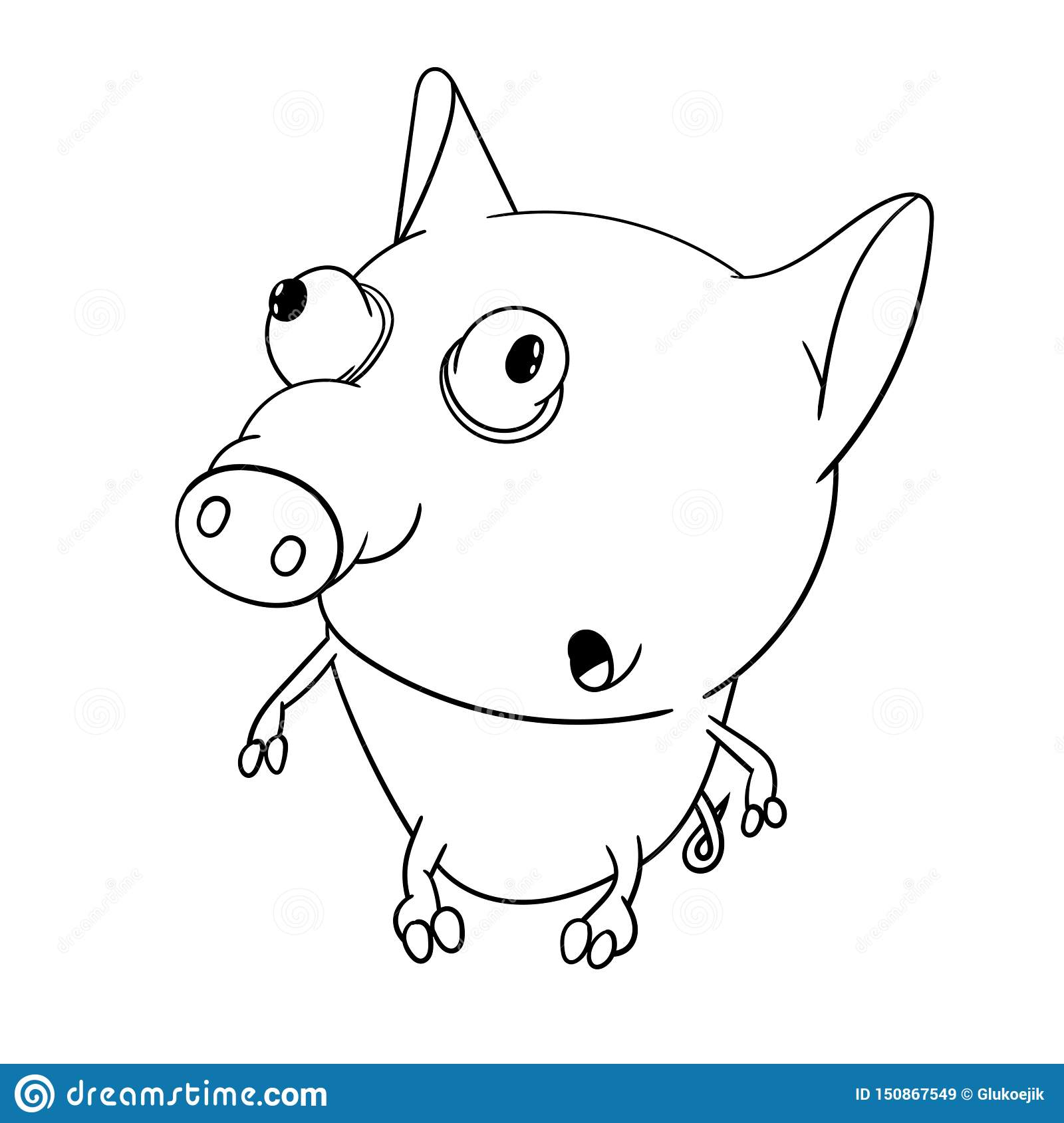 Fun Zoo Cute Big Eyed Little Pig Coloring Book For Kids