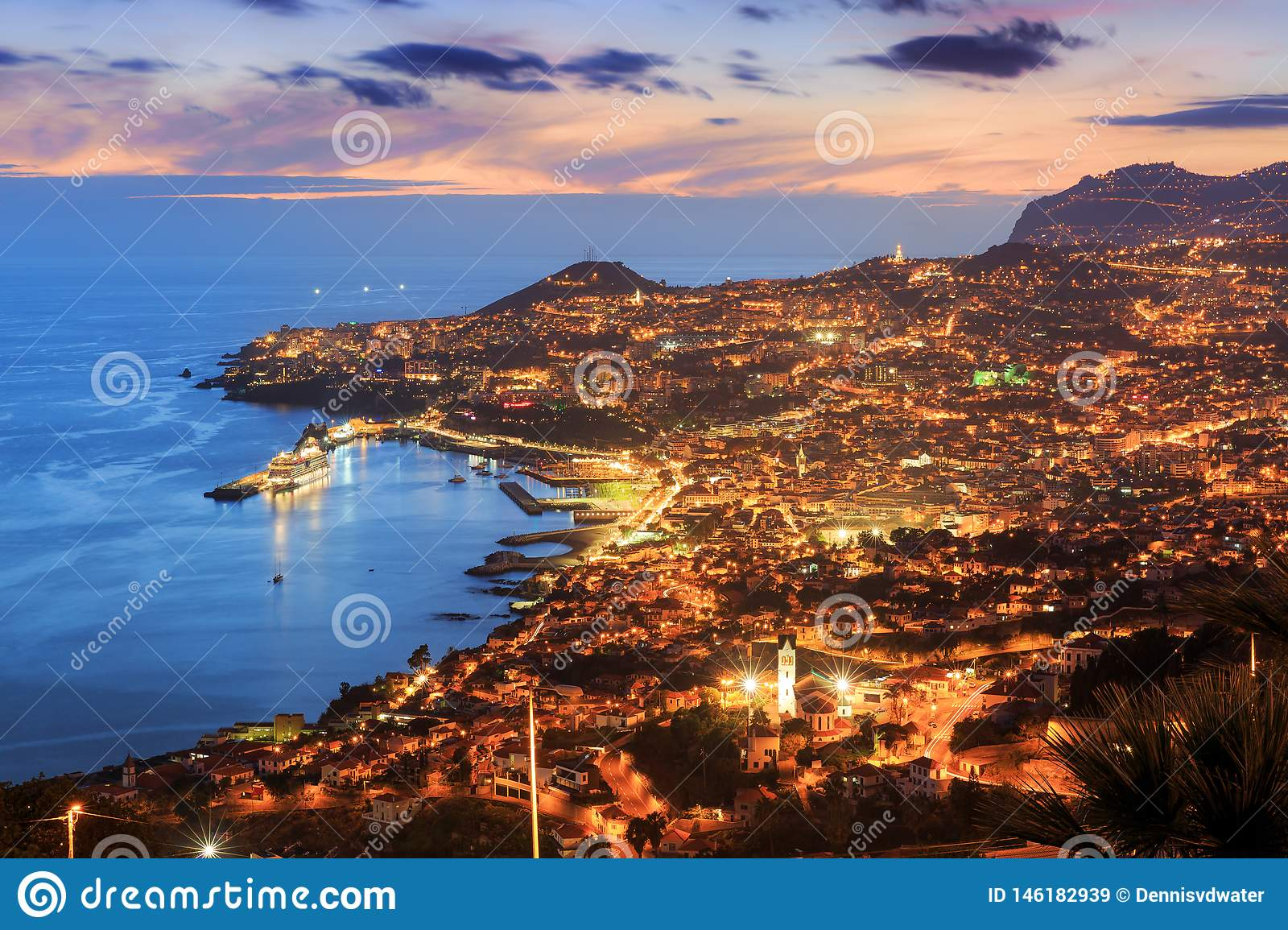 Funchal skyline after sunset in summer