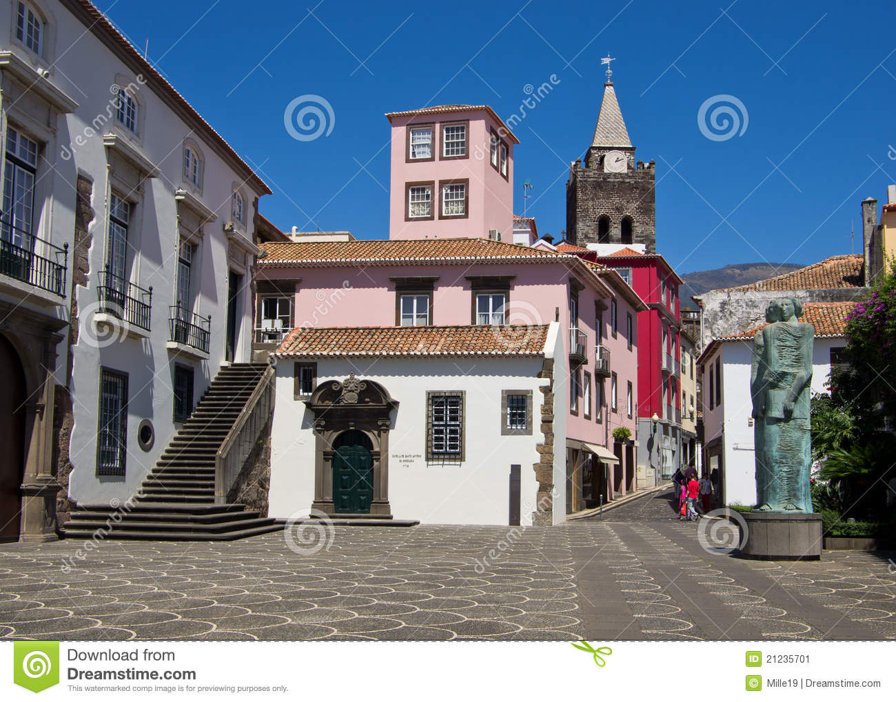 square in Funchal town centre with the Se Cathedral and Capela De ...