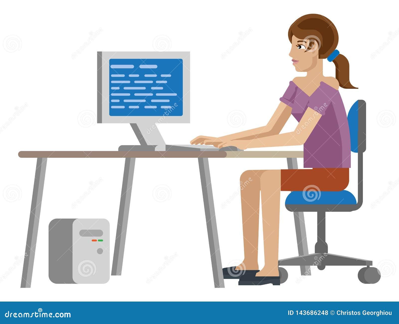 Funcionamento da mulher na mesa em desenhos animados do escritório para negócios