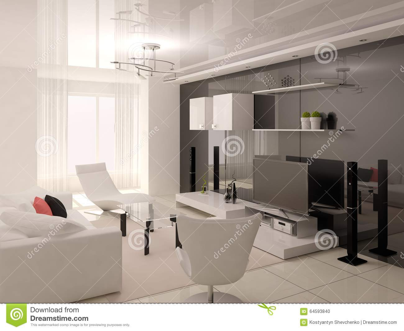 Functional comfortable living room stock illustration for Functional living room