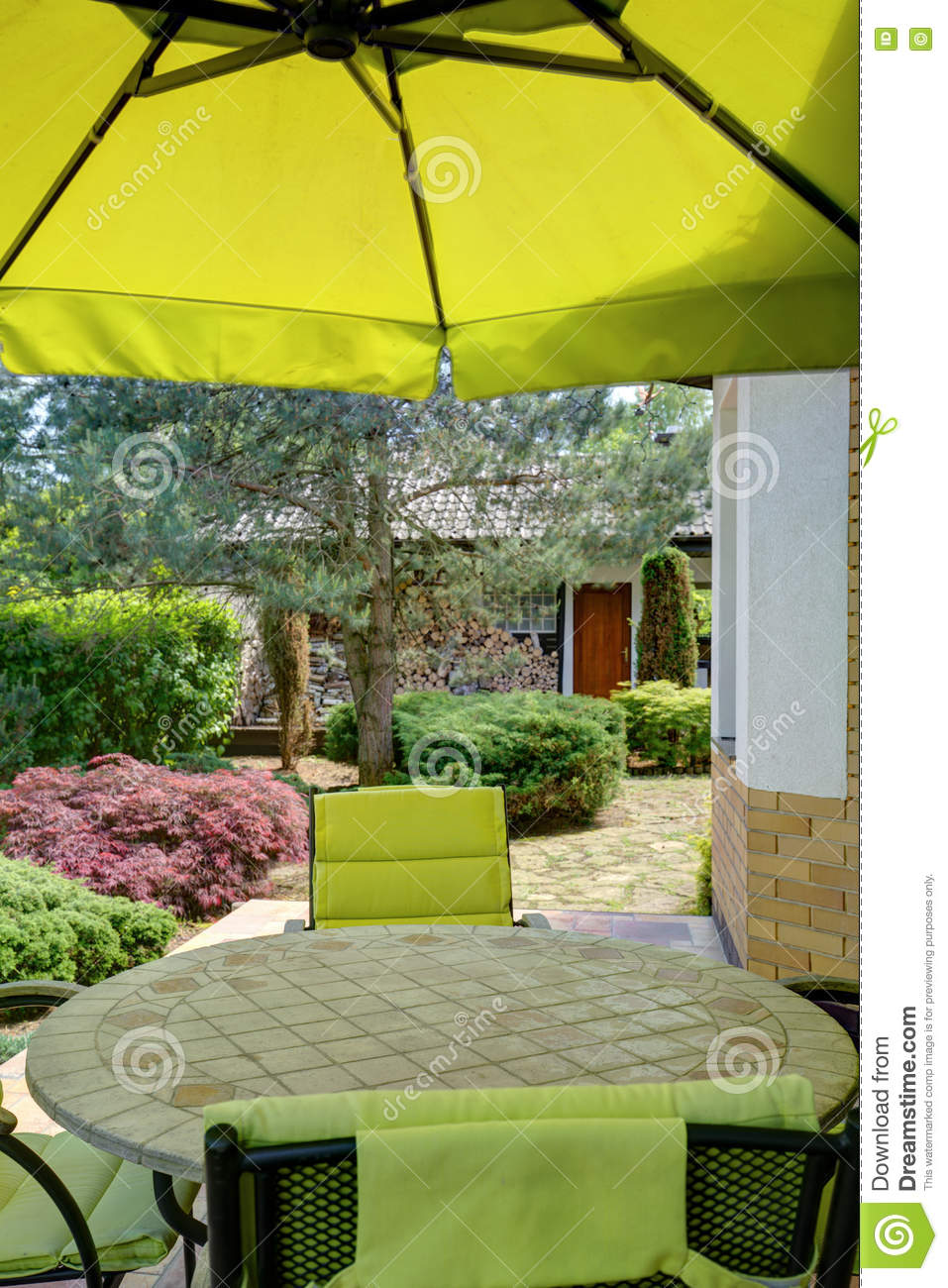 Terrace with functional furnitures stock image 70681945 - Cozy outdoor living spaces connecting mother nature ...