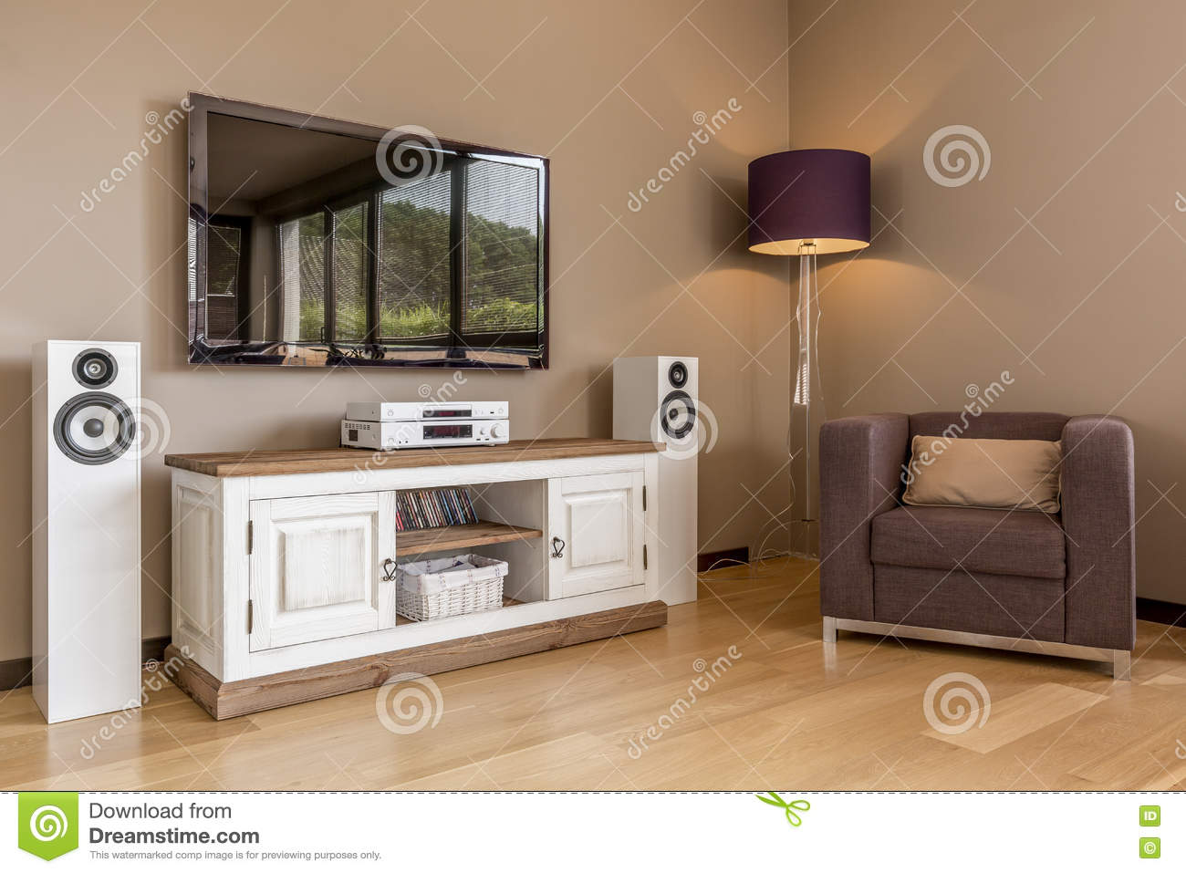 Functional Tv Living Room Idea Stock Image Image Of Panels Room  # Commode Tv But