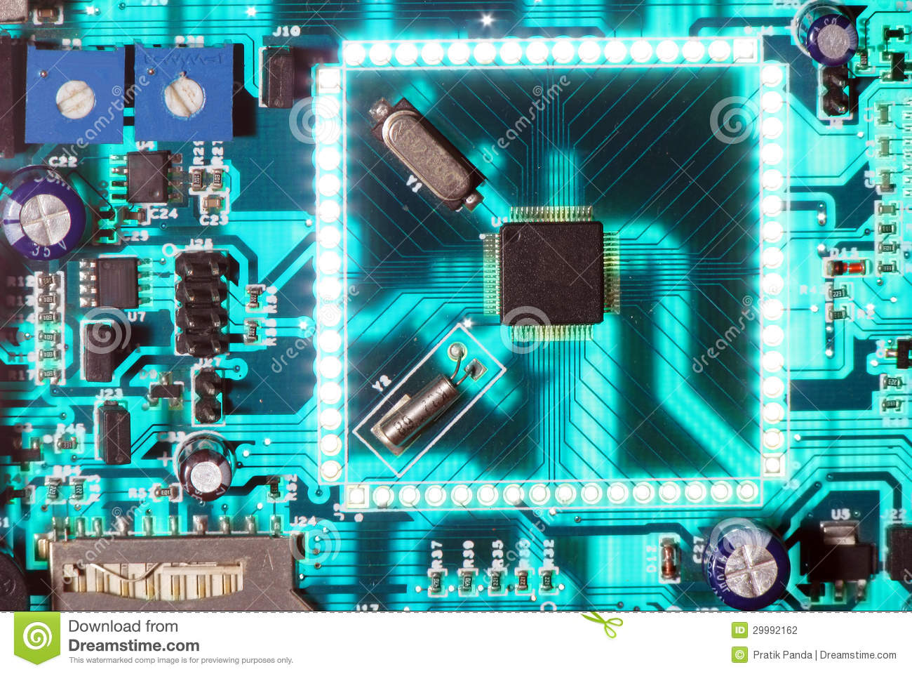 electronic chip circuit board glowing stock photo