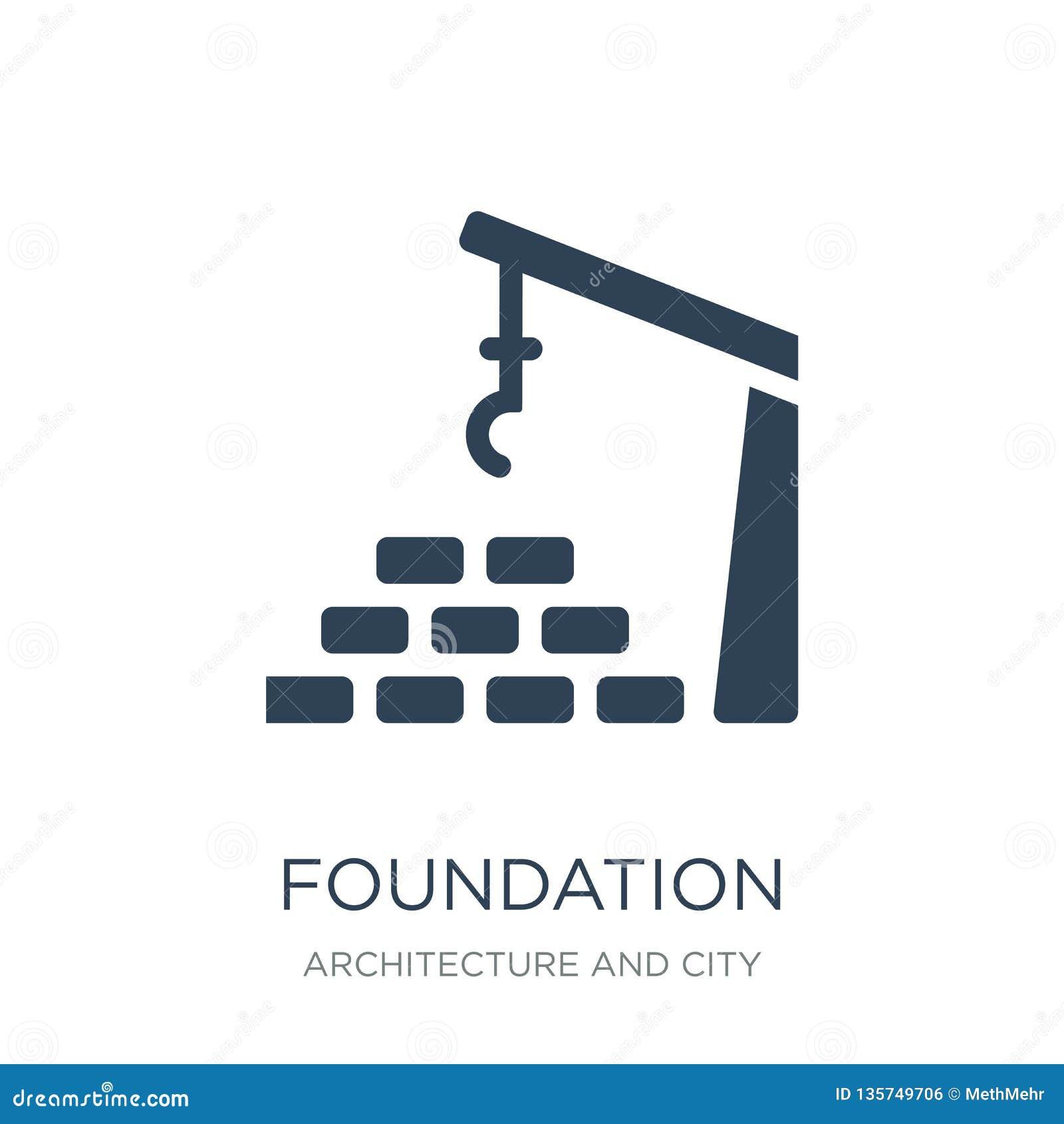Fundacyjna ikona w modnym projekta stylu fundacyjna ikona odizolowywająca na białym tle fundacyjna wektorowa ikona prosta i nowoż