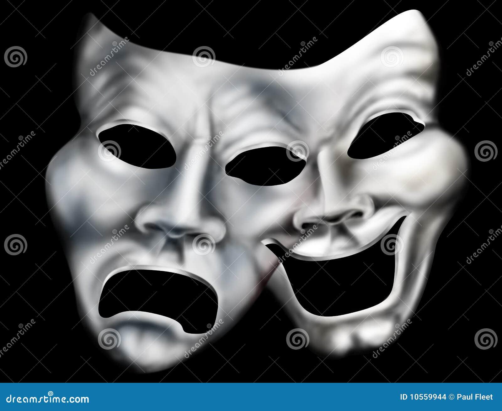 fundindo máscaras do teatro ilustração stock ilustração de fusão