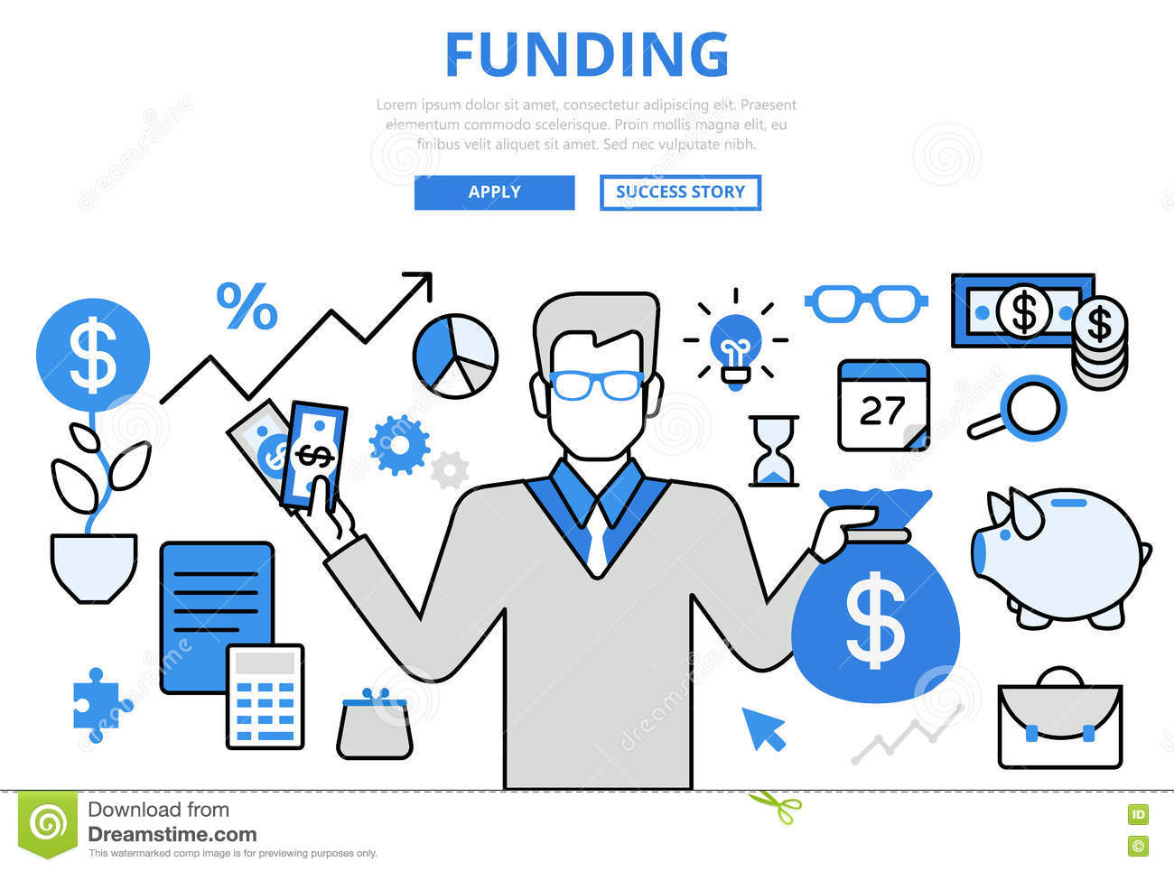 Funding investor financial concept flat line art vector icons