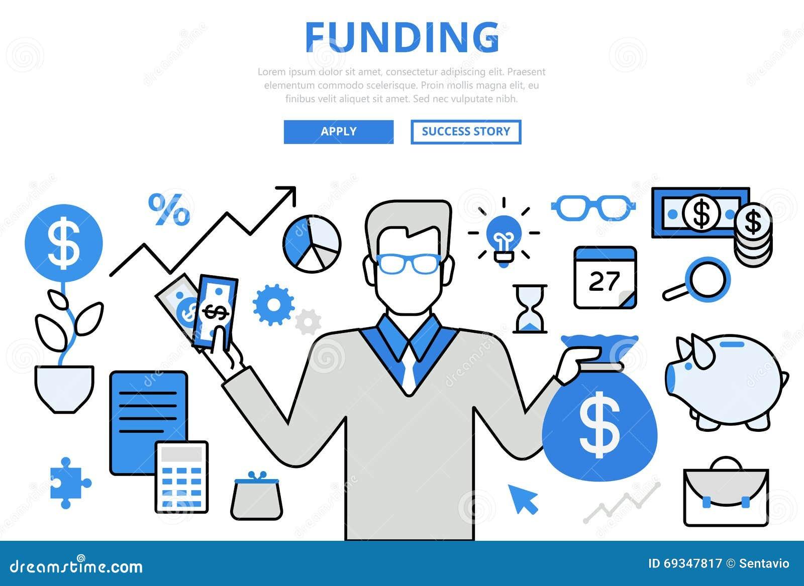 Line Art Website : Funding investor financial concept flat line art vector