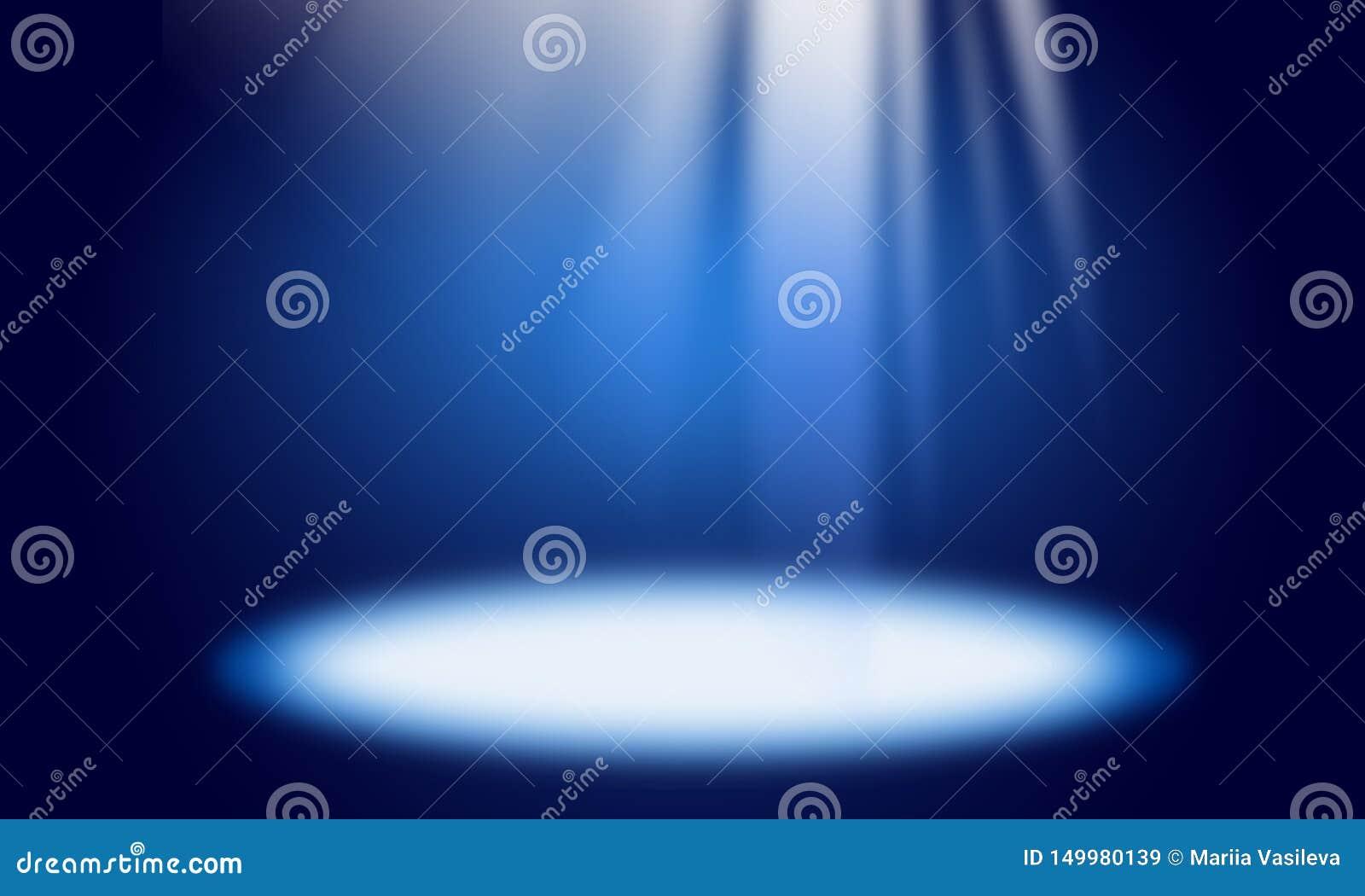Fundo abstrato azul, raios claros, efeito da luz, ponto claro, lugar para o texto, cena luminosa, feriado, partido, branco, azul