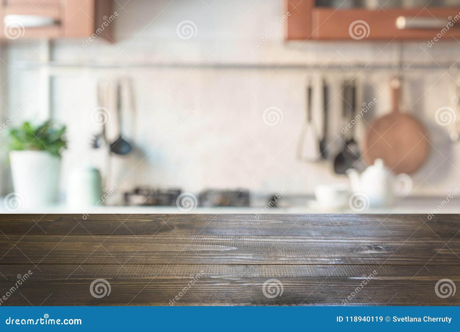 Fundo abstrato borrado Cozinha moderna com tabletop e espaço para a exposição seus produtos