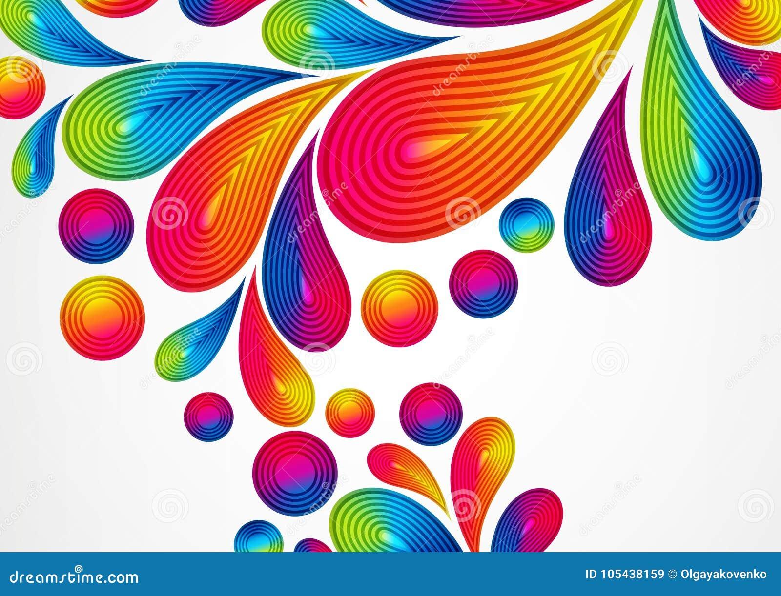 Fundo abstrato colorido com respingo listrado das gotas