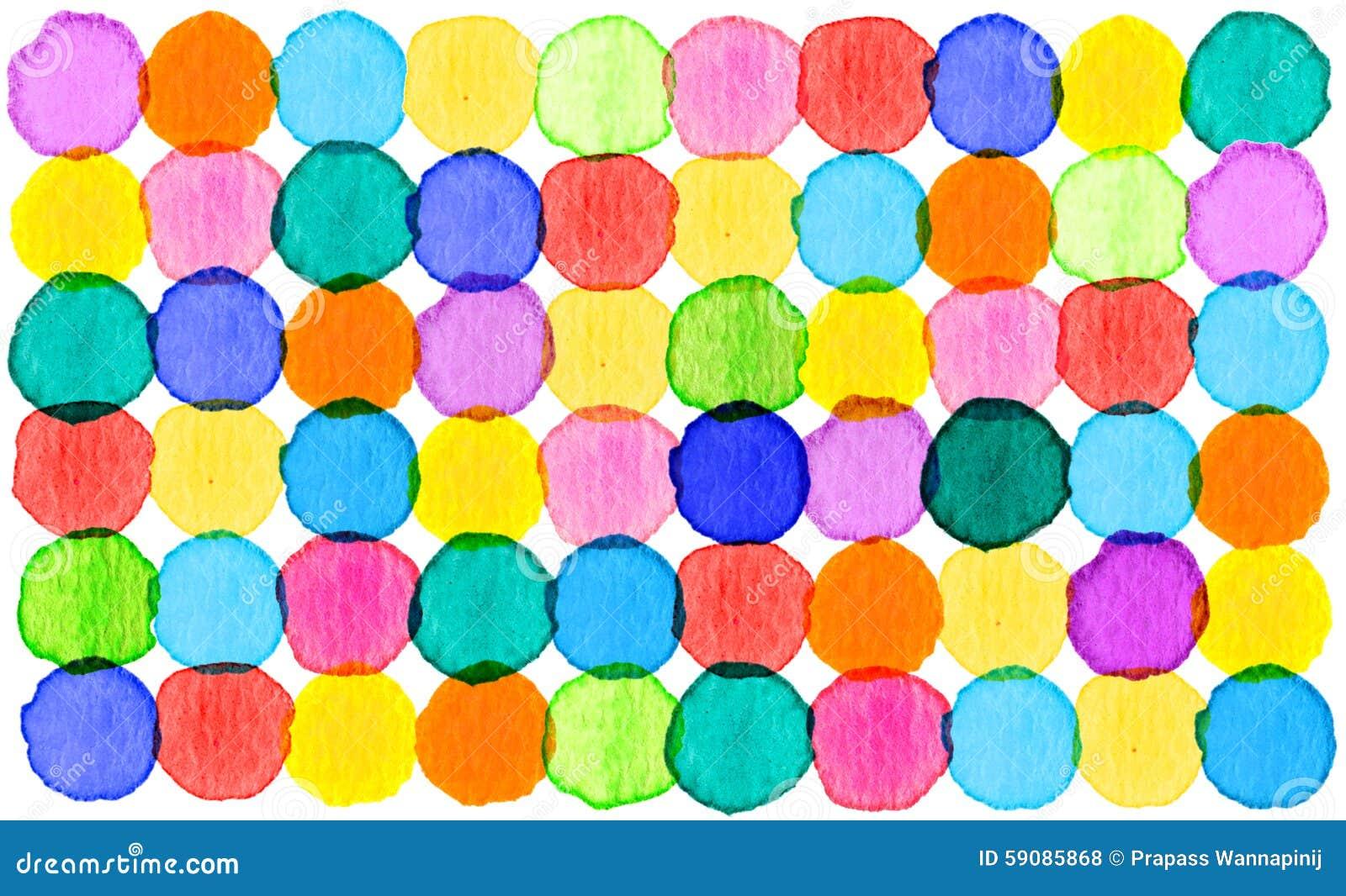Fundo abstrato colorido da aquarela do teste padrão do círculo