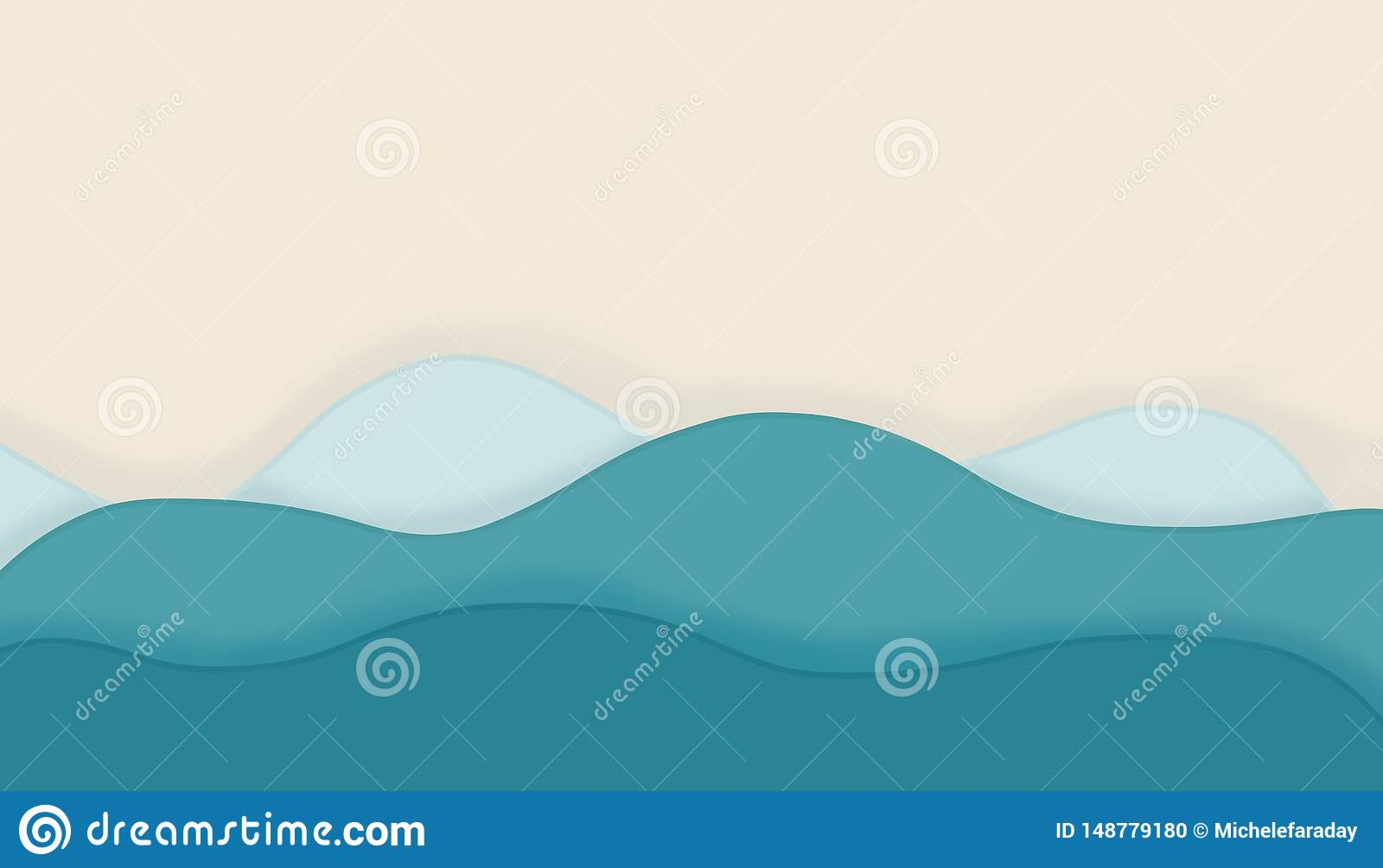 Fundo abstrato com as ondas azuis da curva Conceito do ver?o