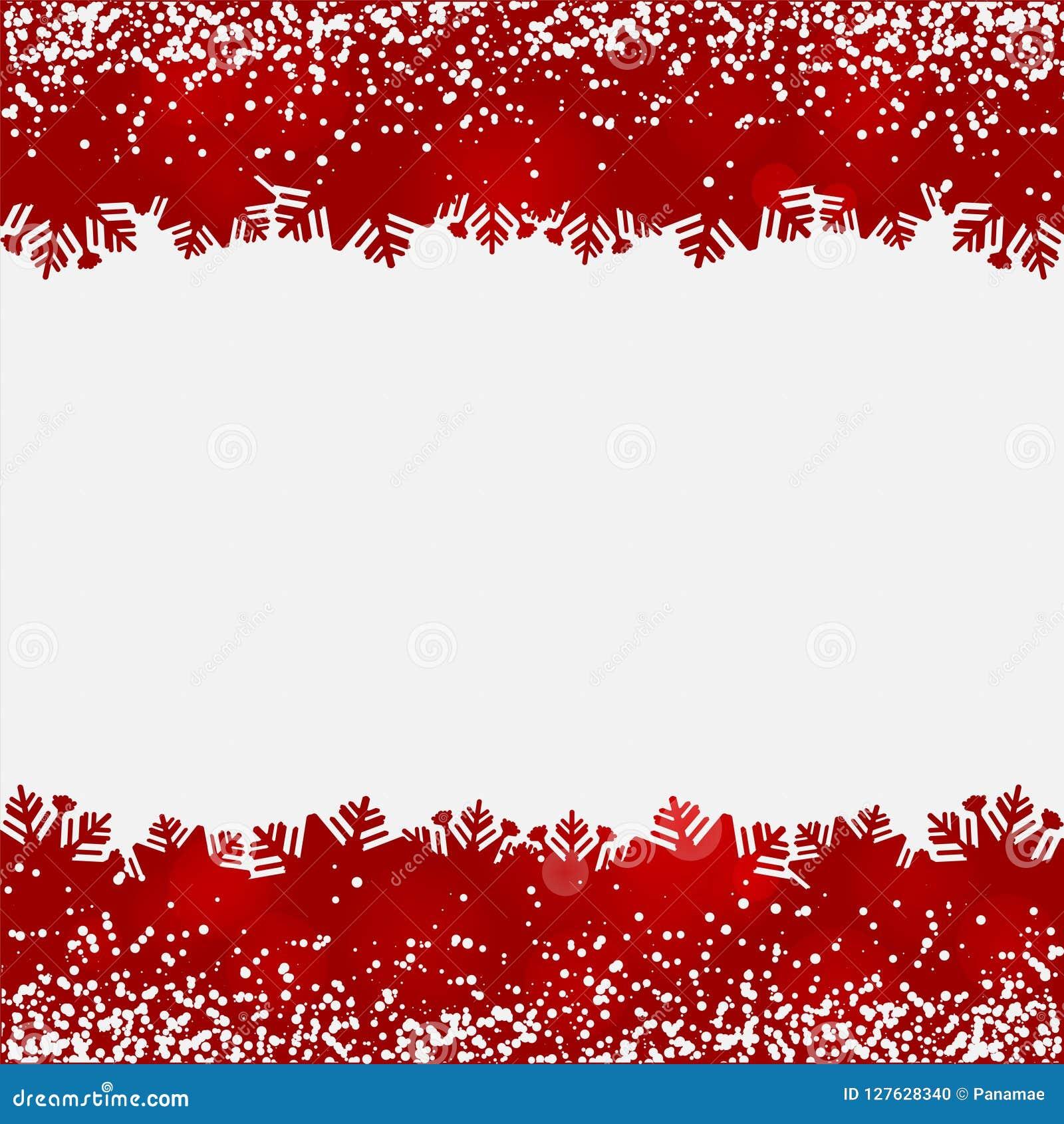 Fundo abstrato com beiras do vermelho da neve e do floco de neve