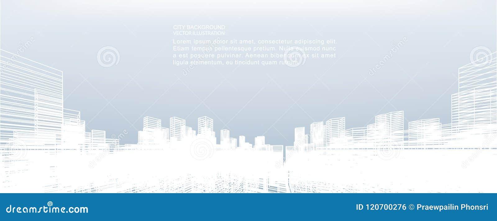 Fundo abstrato da cidade do wireframe A perspectiva 3d rende