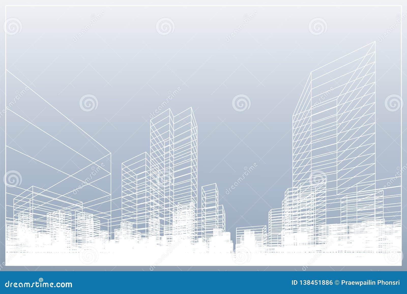 Fundo abstrato da cidade do wireframe A perspectiva 3D rende do wireframe da construção Vetor