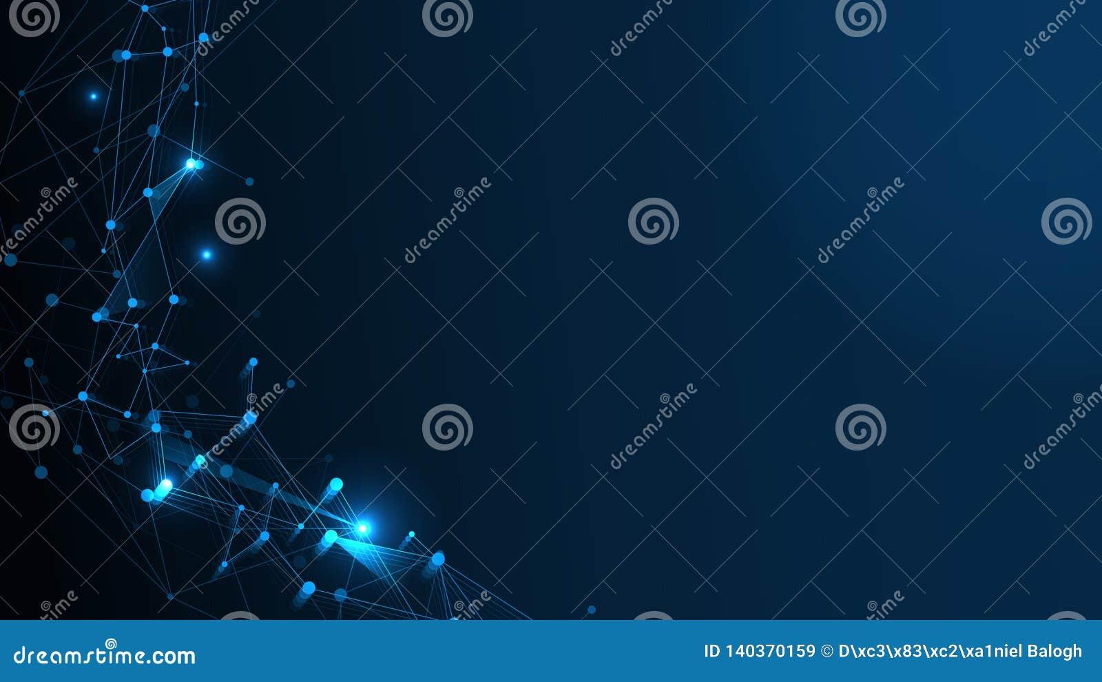 Fundo abstrato da estrutura de rede da tecnologia O efeito futurista ou as moléculas do plexo estruturam com poligonal