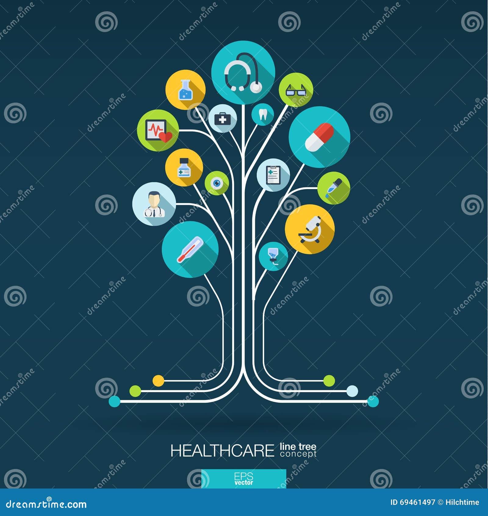 Fundo abstrato da medicina Conceito da árvore do crescimento