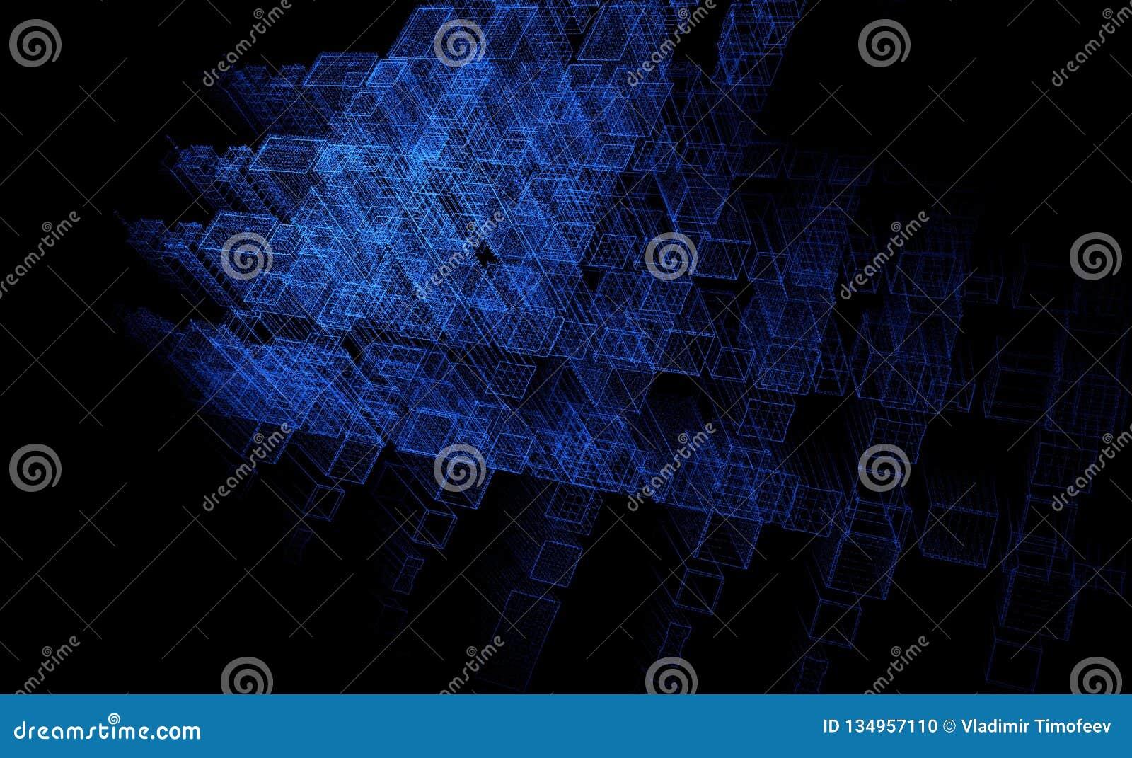 Fundo abstrato da partícula, cidade do fi do céu, 3D rendição, azul do fundo da tecnologia
