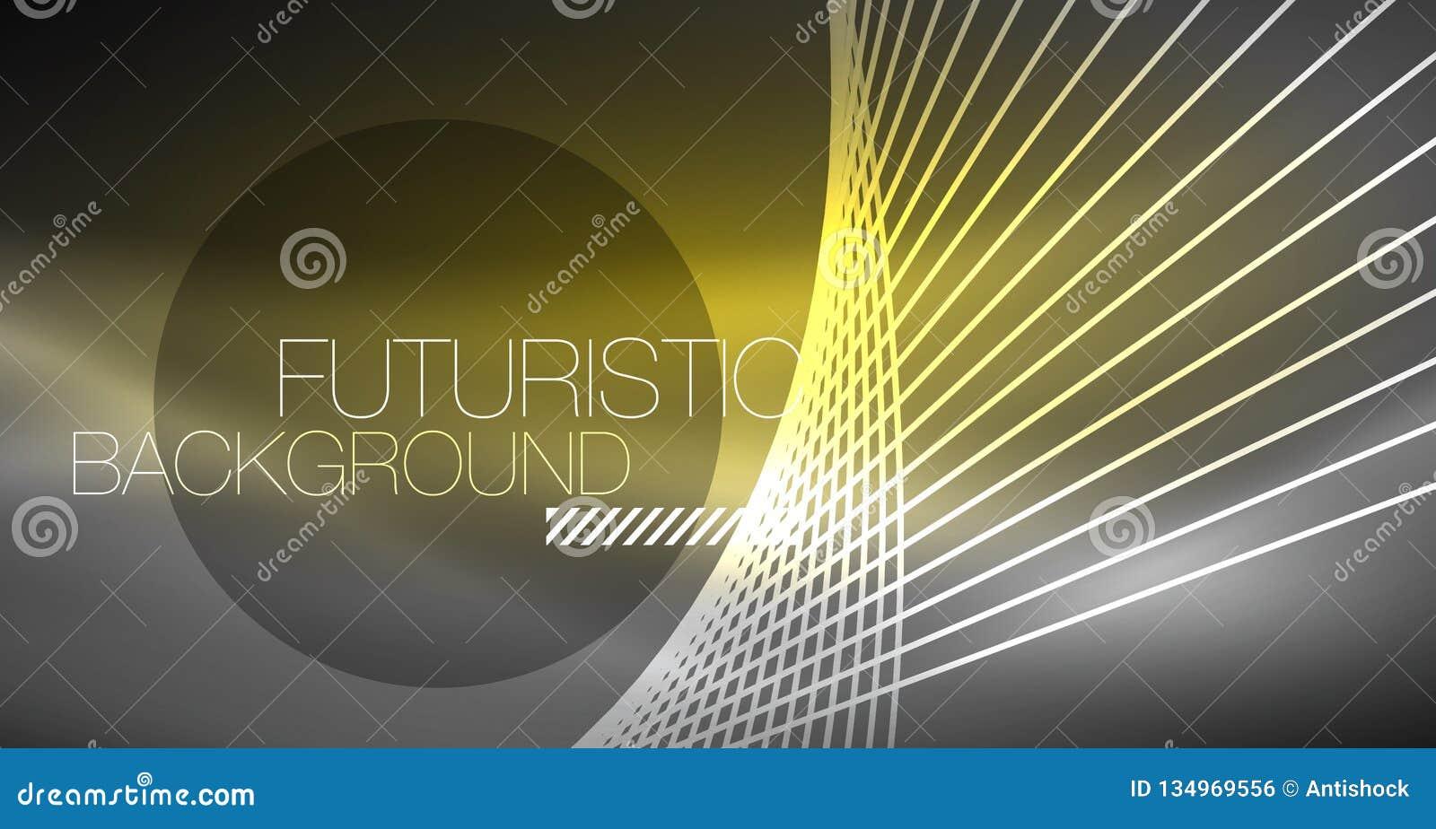 Fundo abstrato da tecnologia de Digitas - projeto geométrico de néon Linhas de incandescência abstratas Fundo colorido do techno