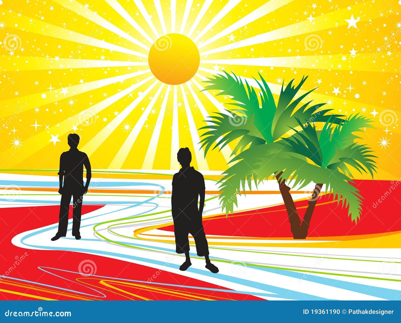 Fundo abstrato das férias de verão com silhueta