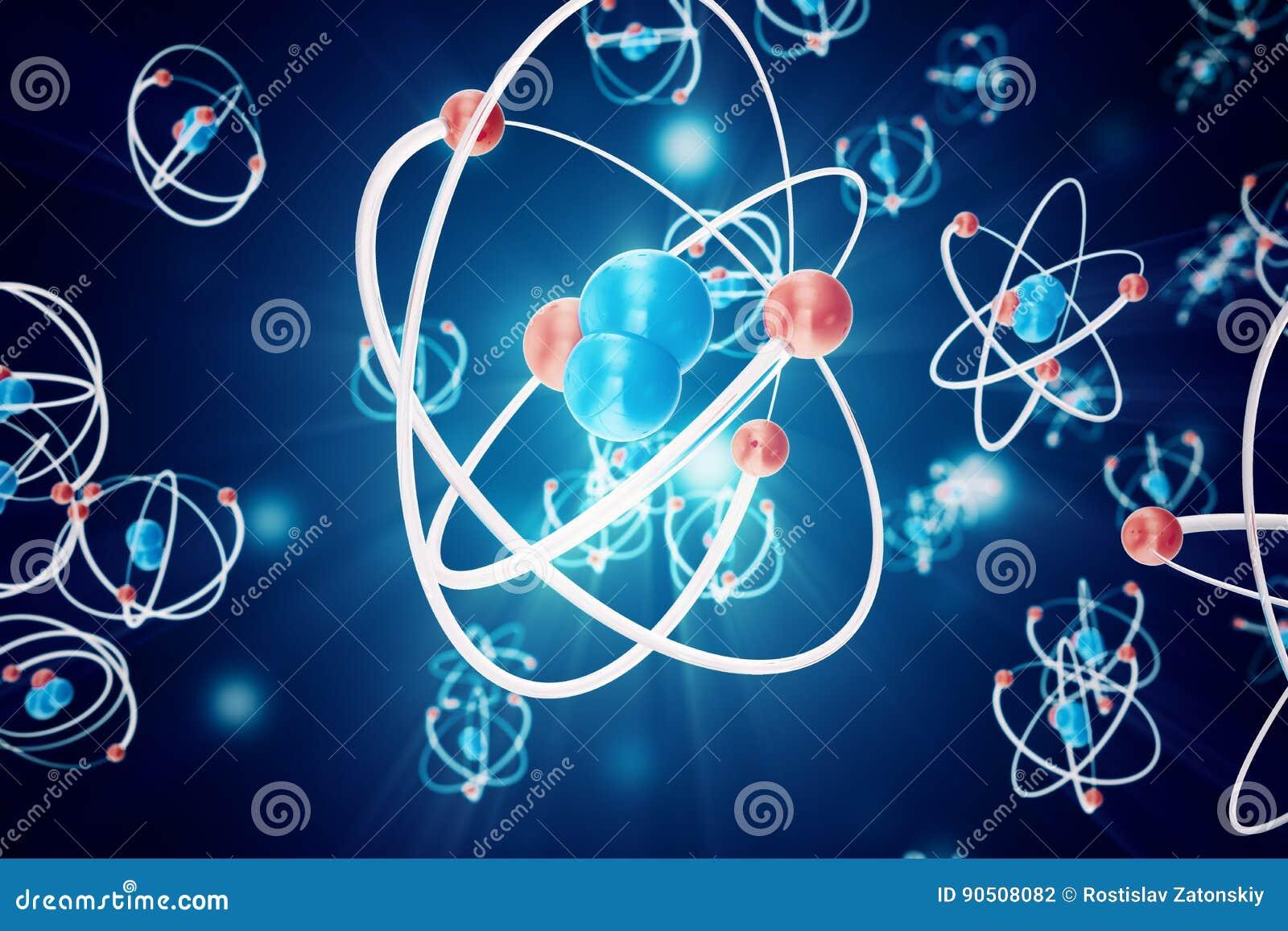 fundo abstrato do átomo, modelo da química da molécula átomos e