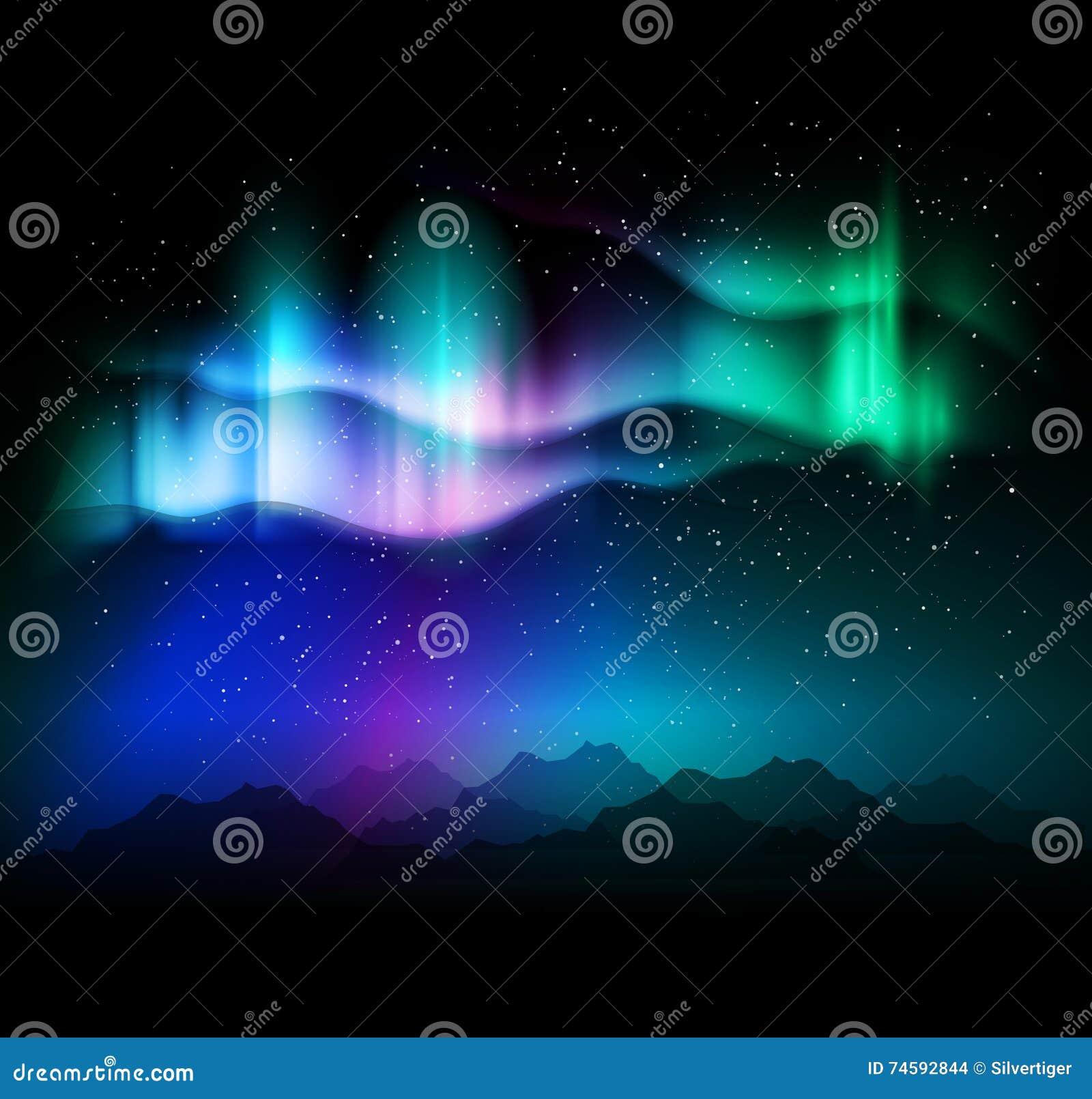 Fundo abstrato do aurora borealis - ilustração do vetor