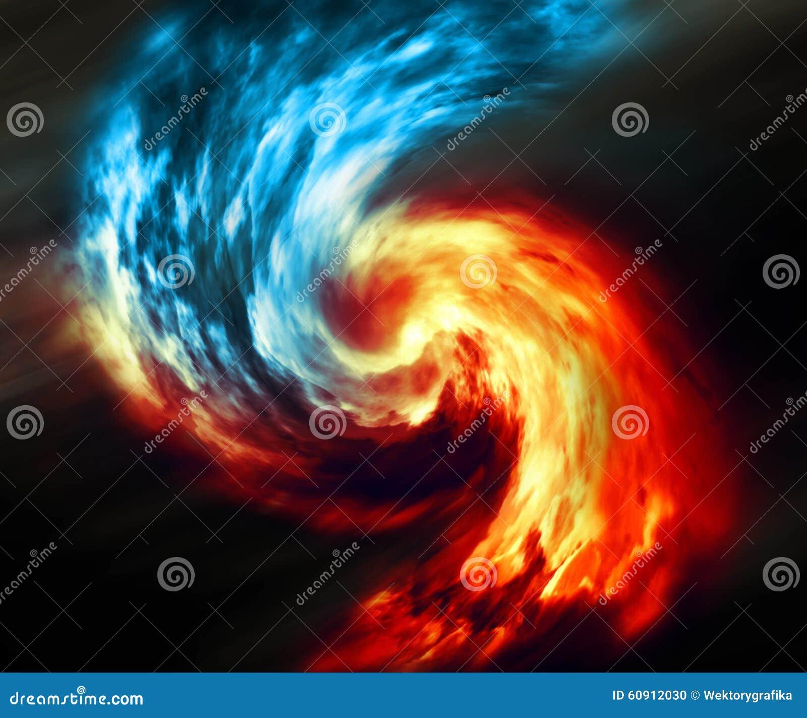 Fundo abstrato do fogo e do gelo Redemoinho vermelho e azul do fumo no fundo escuro