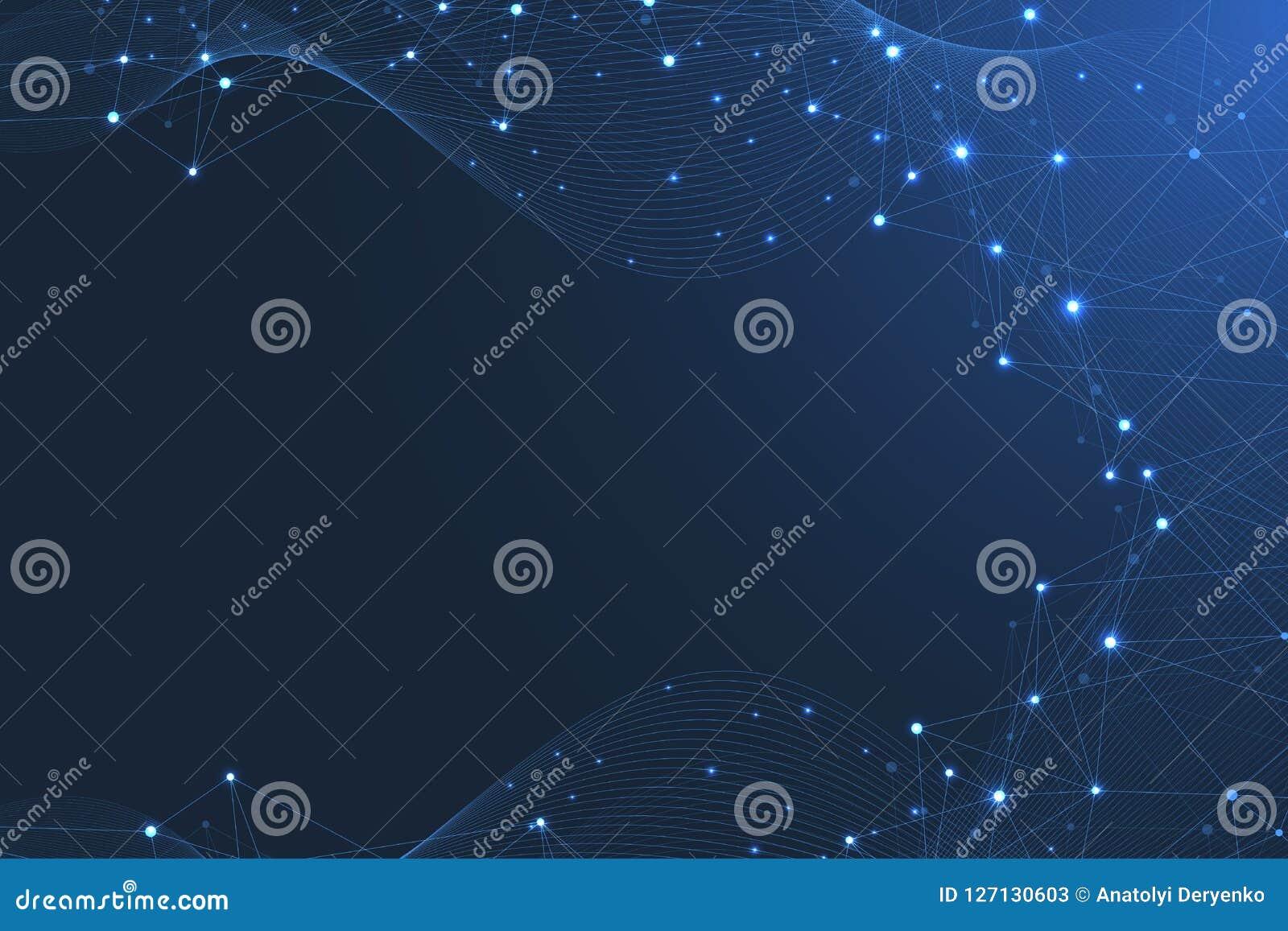 Fundo abstrato do plexo com pontos e linhas de conexão Fluxo da onda Dados grandes do efeito geométrico do plexo com compostos