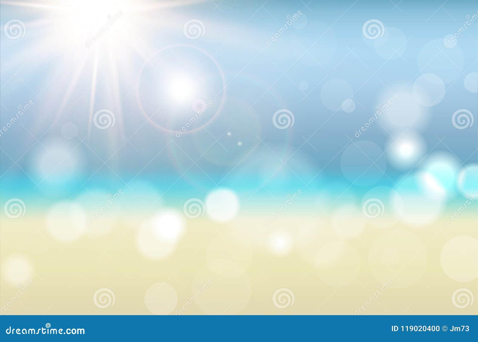 Fundo abstrato do verão com raios do sol e bokeh borrado