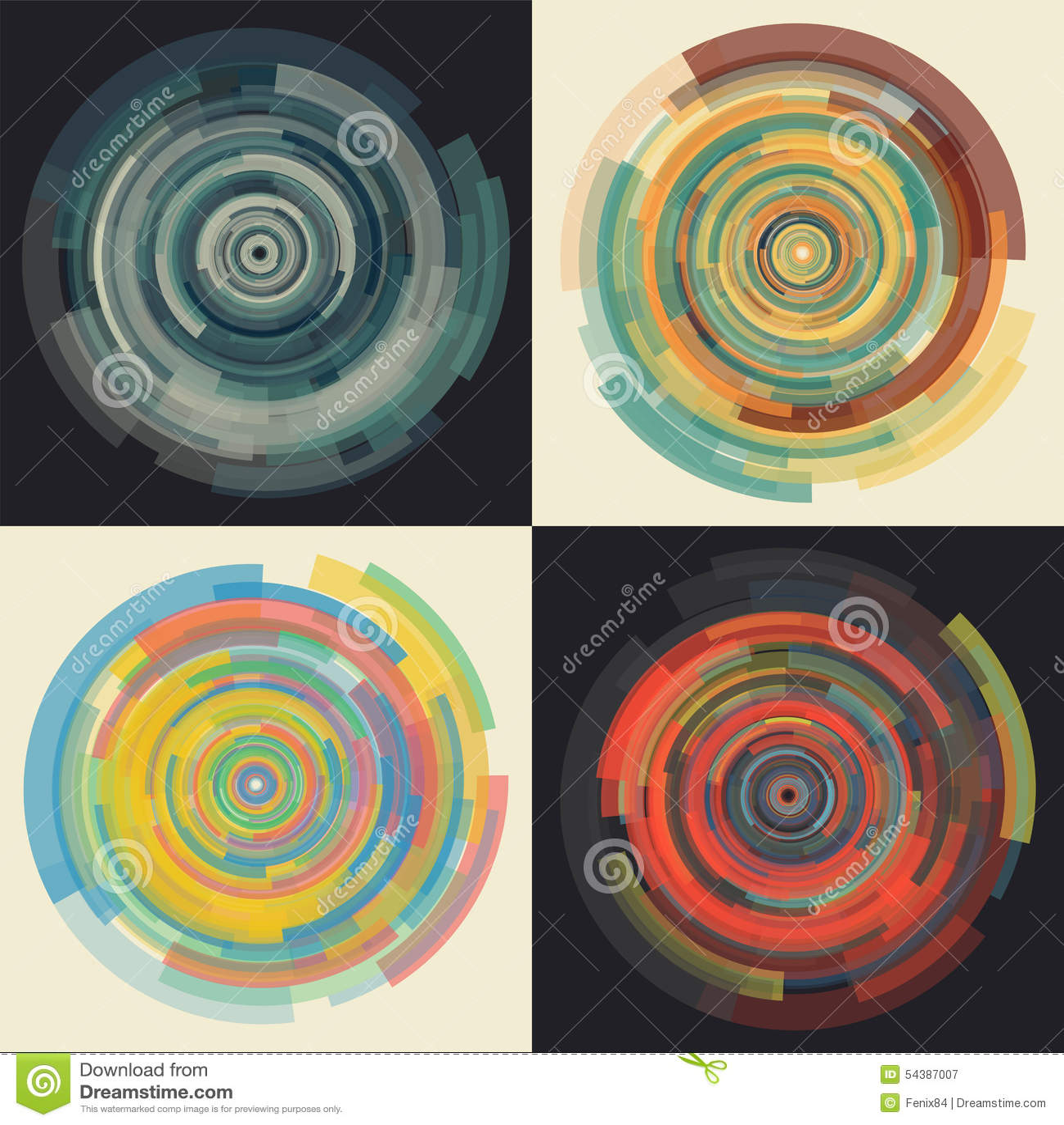 Fundo abstrato do vetor em elementos circulares uniformemente de diminuição concêntricos