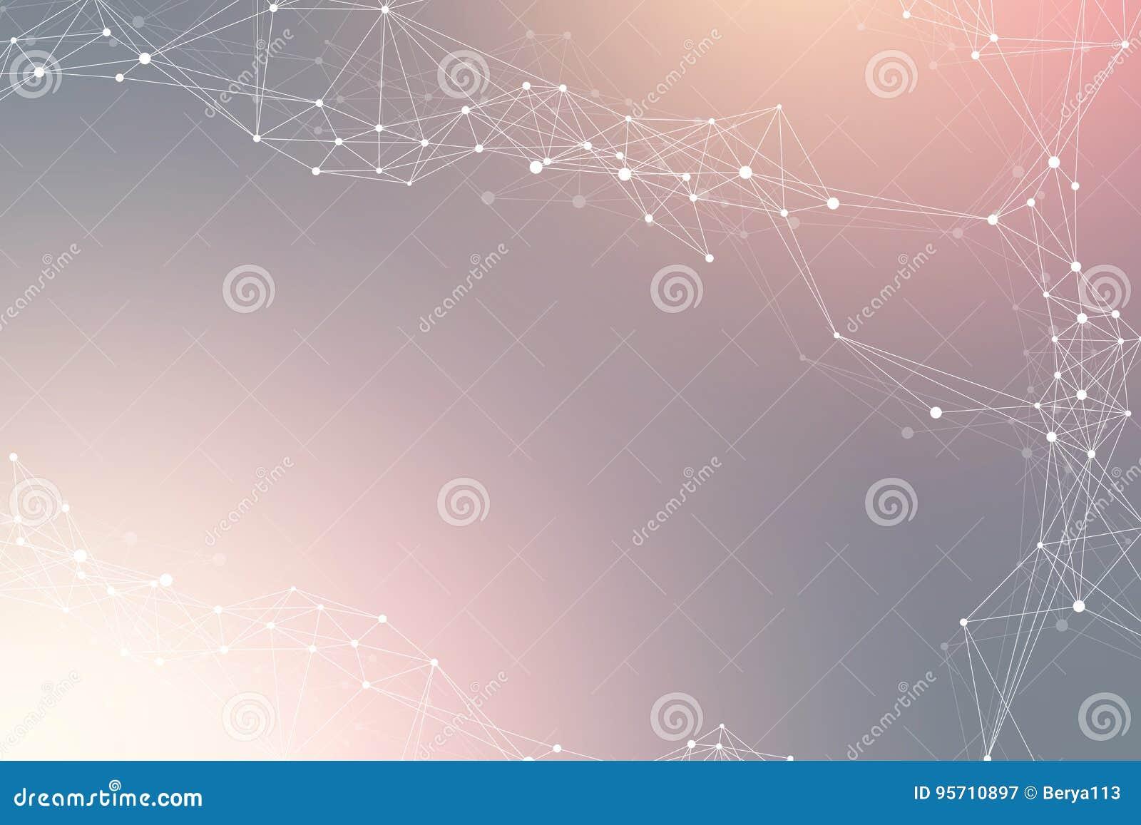 Fundo abstrato geométrico com linha e os pontos conectados Fundo da rede e da conexão para sua apresentação