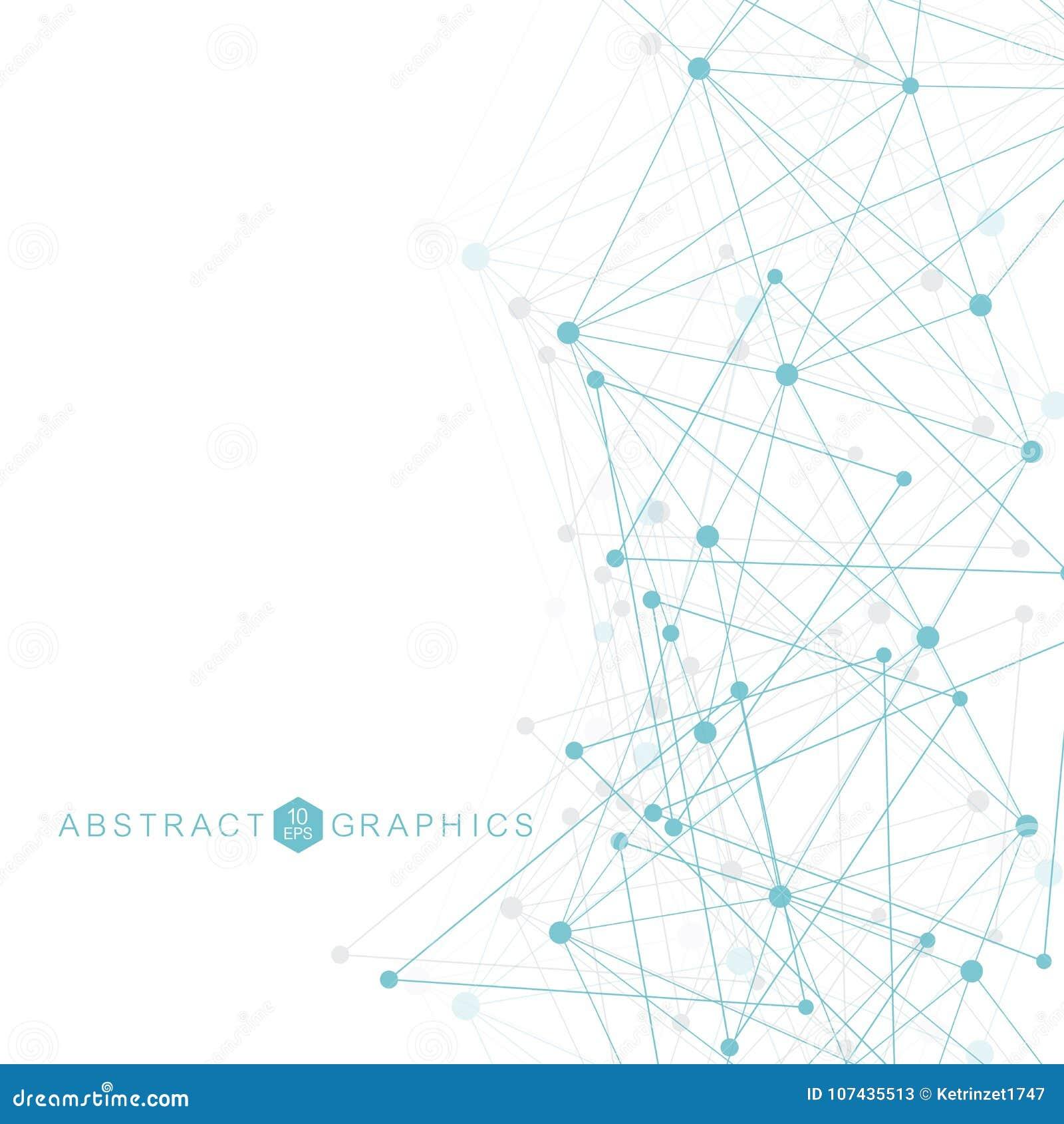 Fundo abstrato geométrico com linha e os pontos conectados Molécula e comunicação da estrutura Visualização grande dos dados