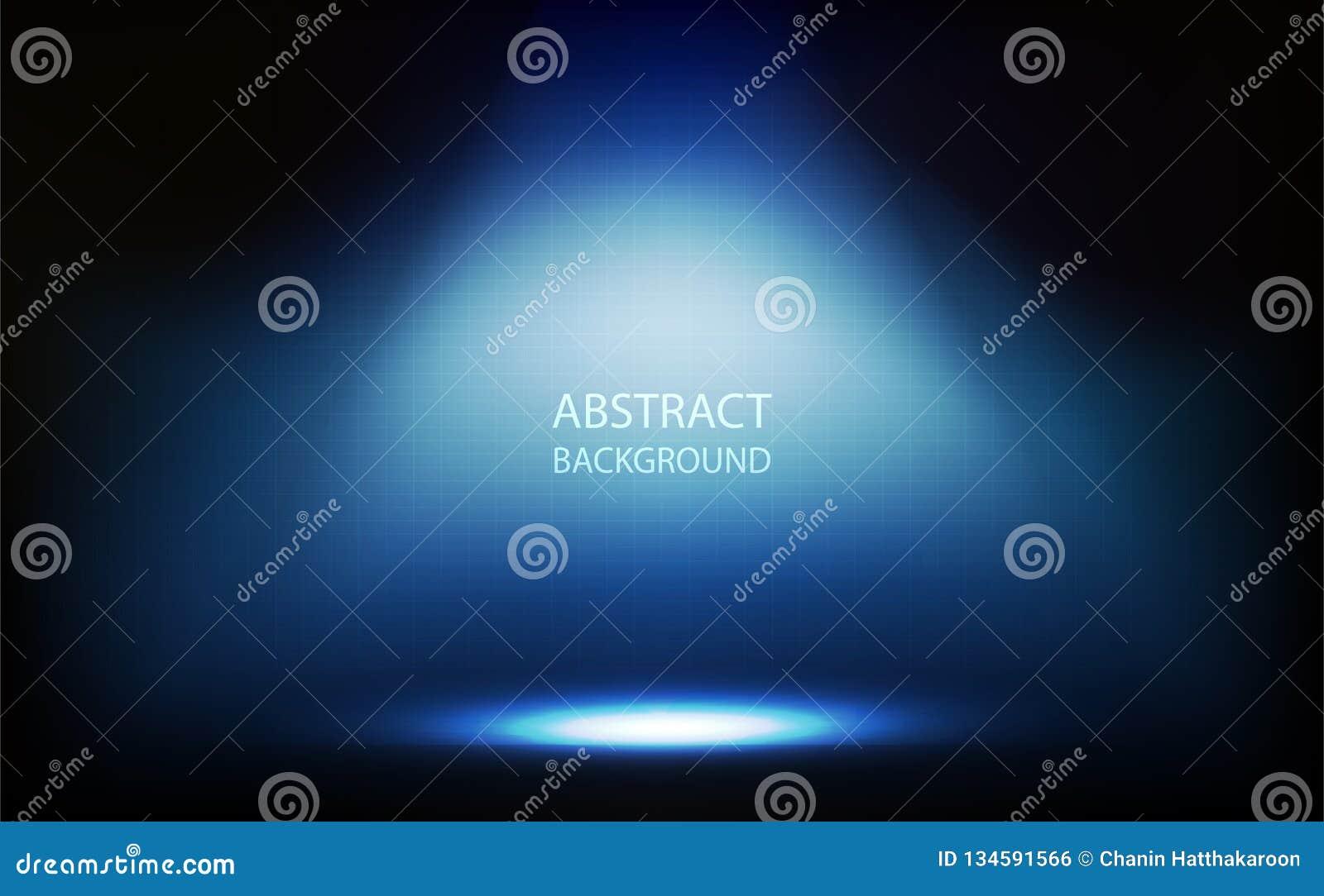 Fundo abstrato, projetor azul na sala, parede da grade com ilustração do vetor da tecnologia digital