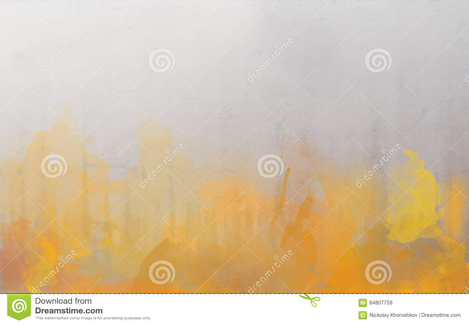 Fundo amarelo e alaranjado do sumário da aquarela