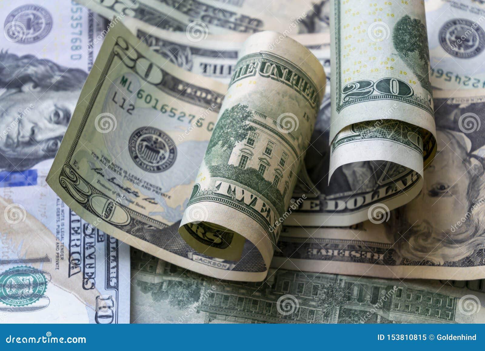 Fundo americano das cédulas do dólar do close-up