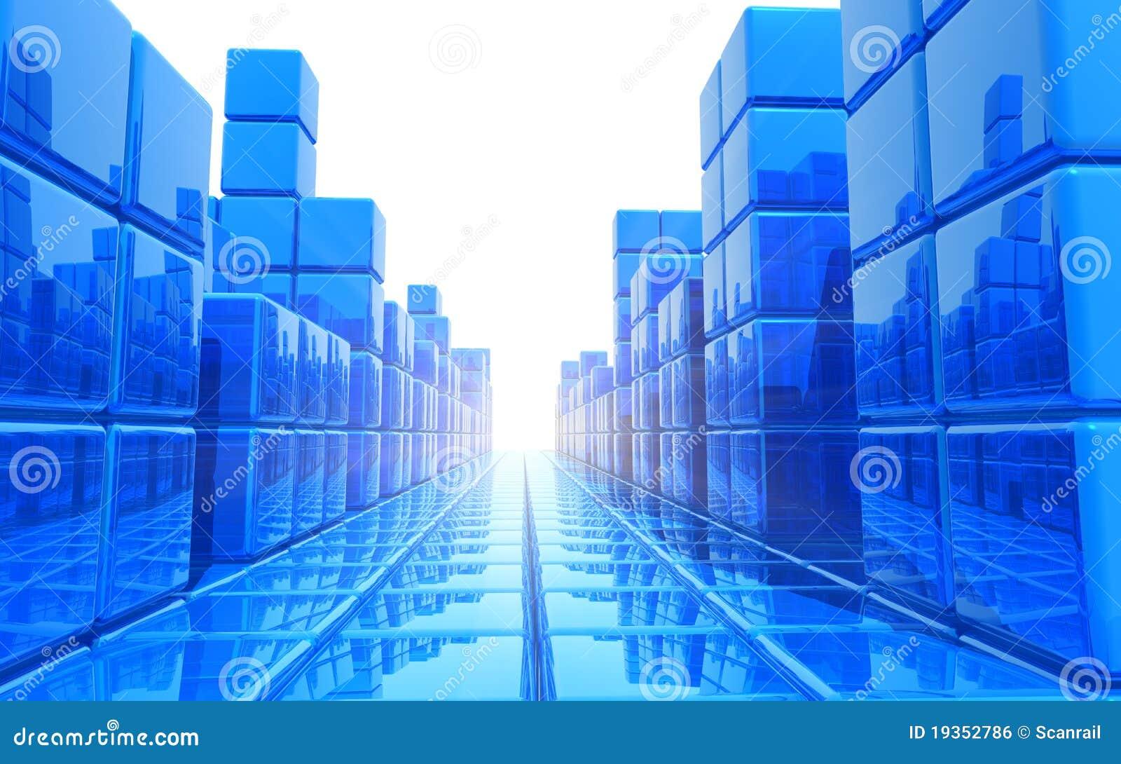 Fundo arquitectónico azul abstrato