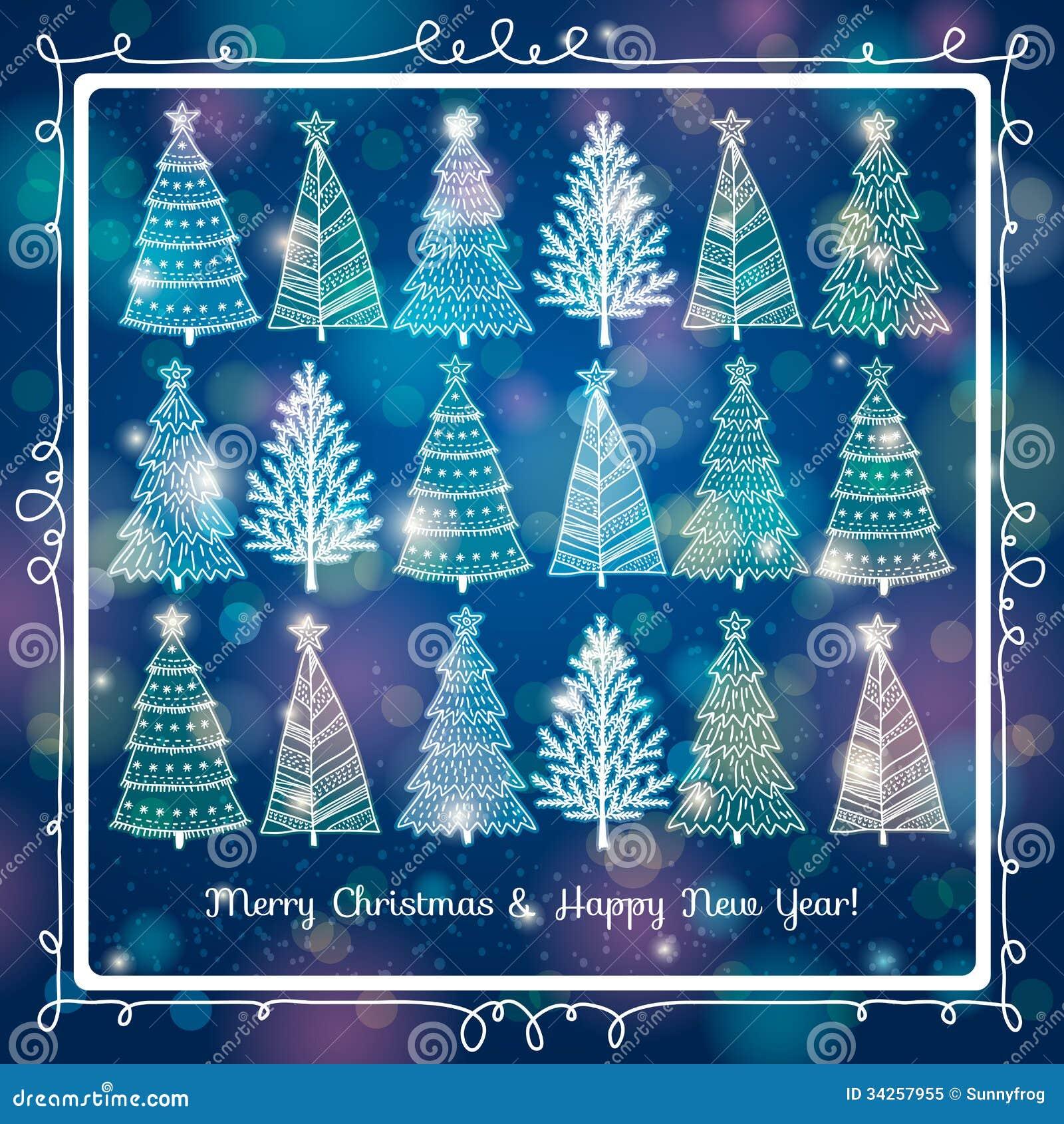 Fundo azul com a floresta de árvores de Natal, v