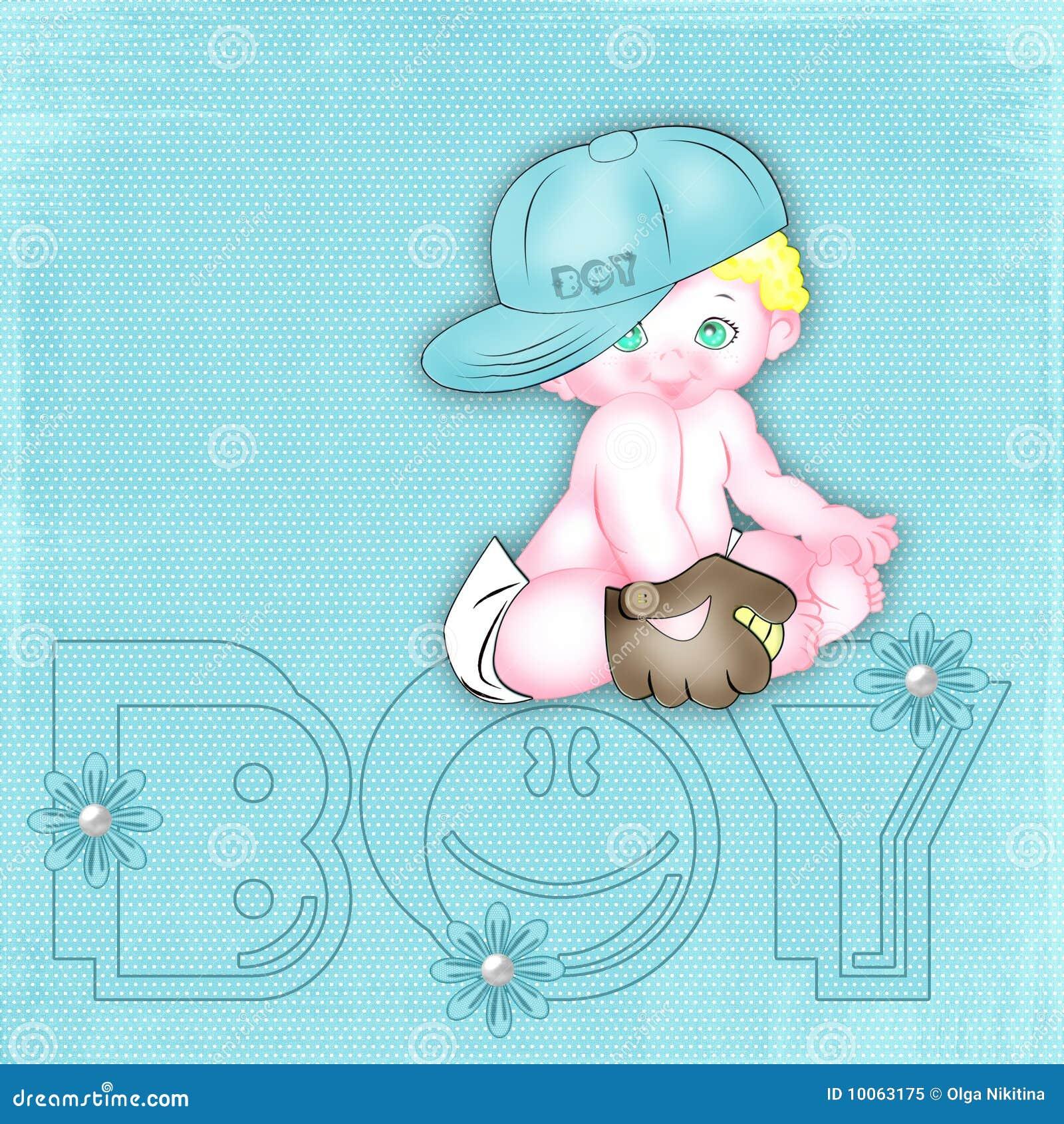 Fundo azul com o bebê-menino