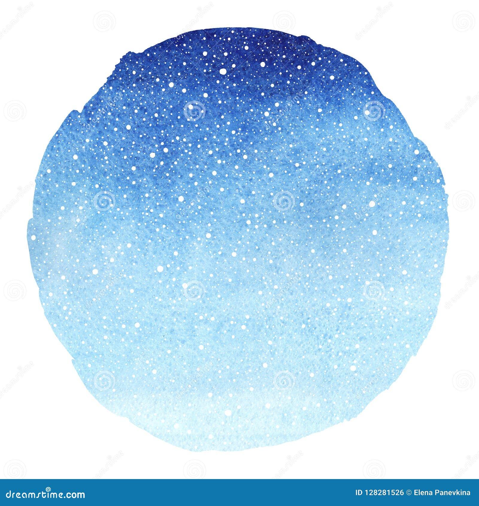 Fundo azul da aquarela do inclinação redondo do céu do inverno