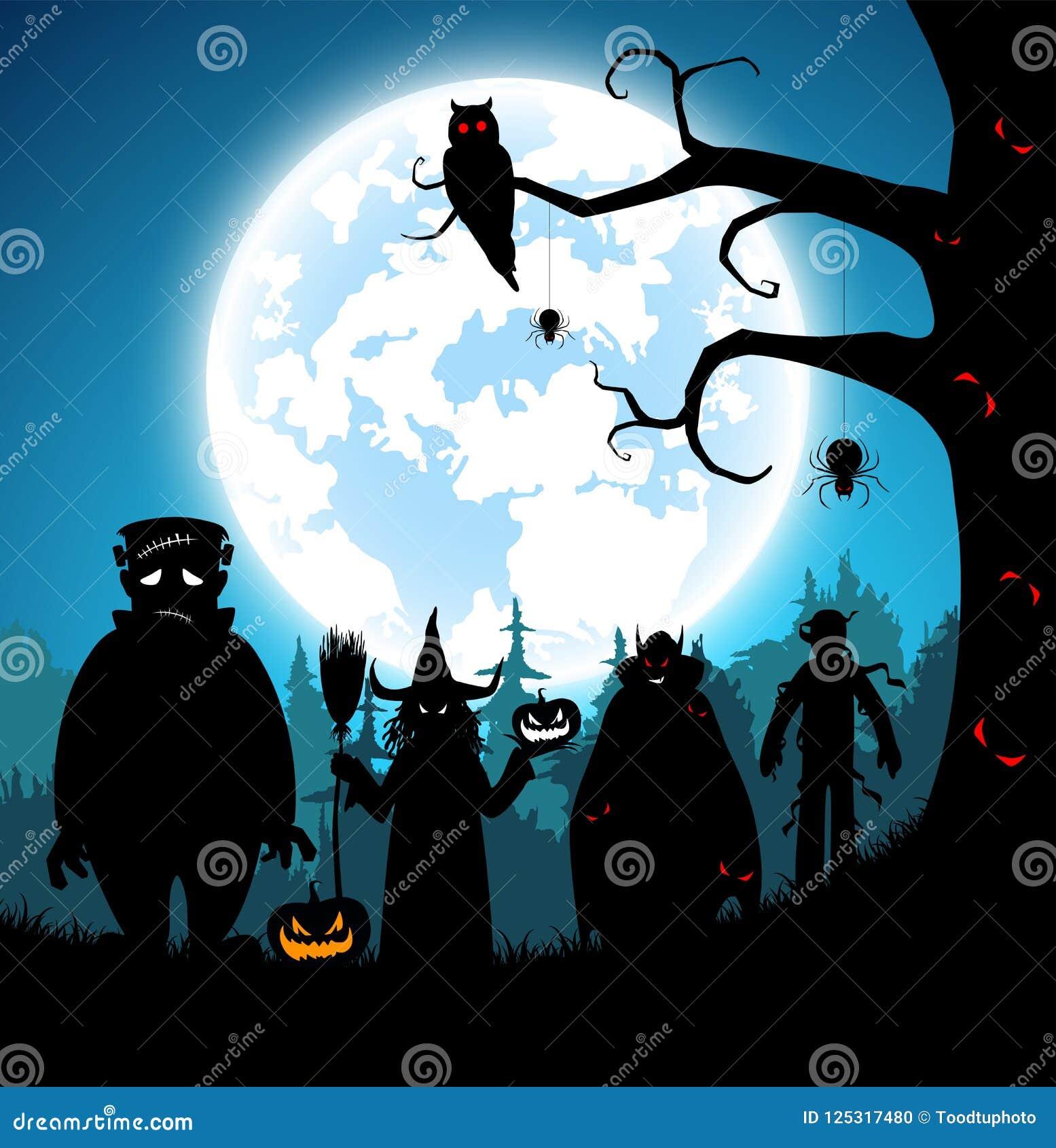 Fundo azul da ilustração, conceito do Dia das Bruxas do festival