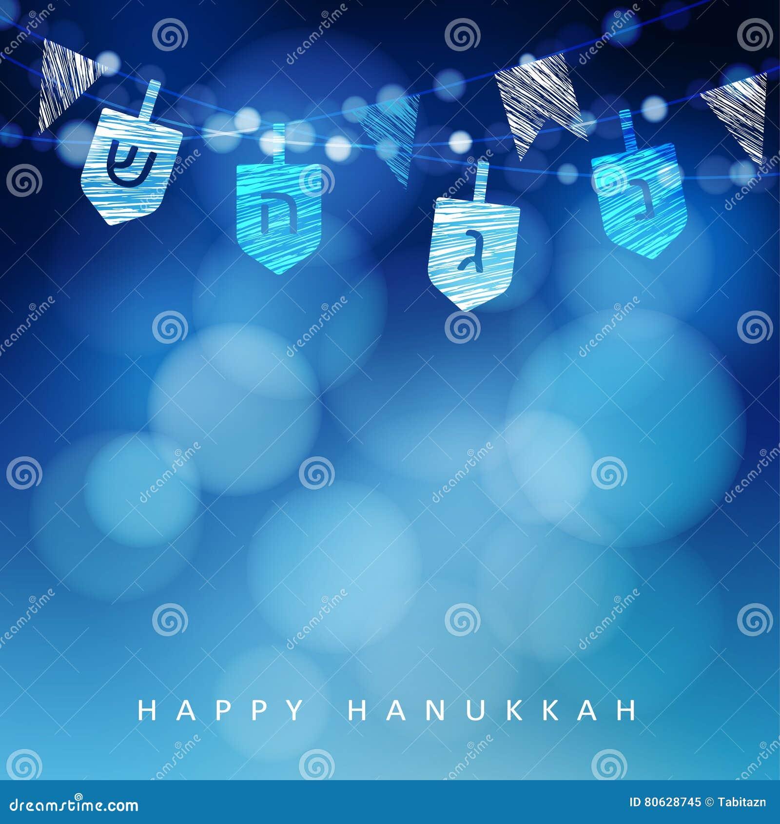 Fundo azul de Anukkah com corda da luz e dos dreidels