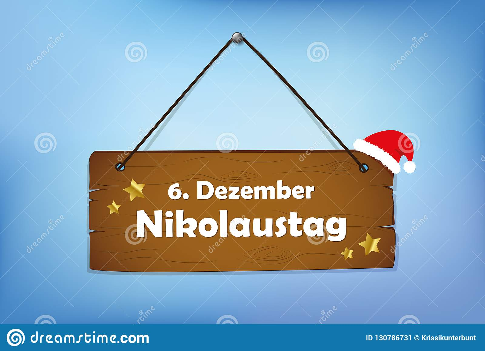 Fundo azul de Nicholas Day sinal de Saint de madeira do 6 de dezembro