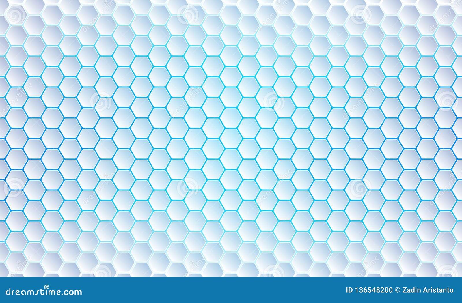 Fundo azul do hexágono, sumário moderno, fundo geométrico futurista do vetor