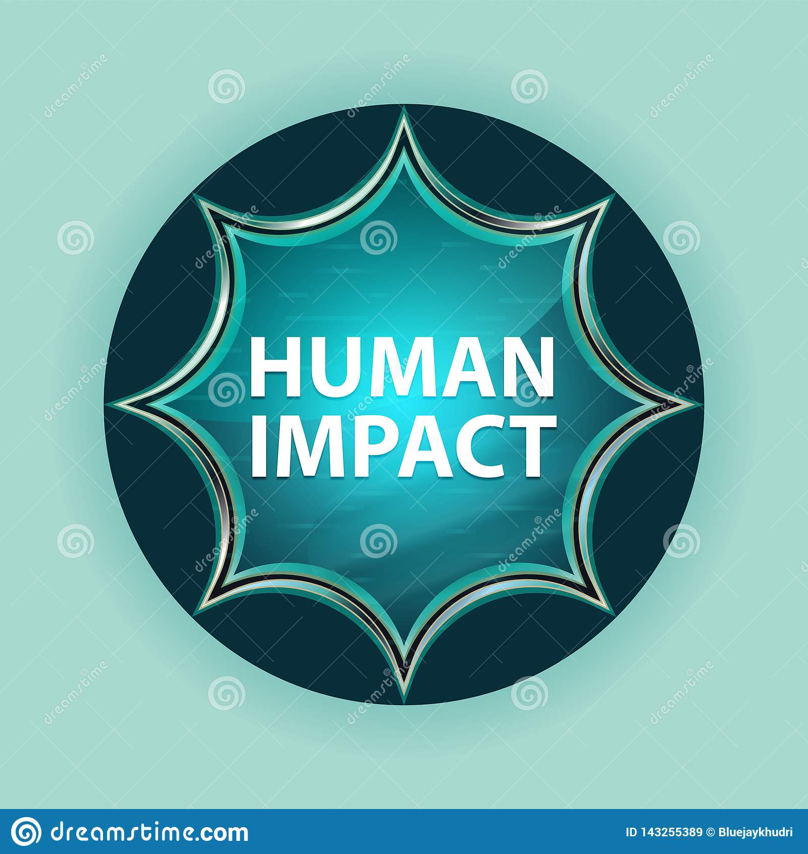 Fundo azul dos azul-céu do botão do sunburst vítreo mágico humano do impacto