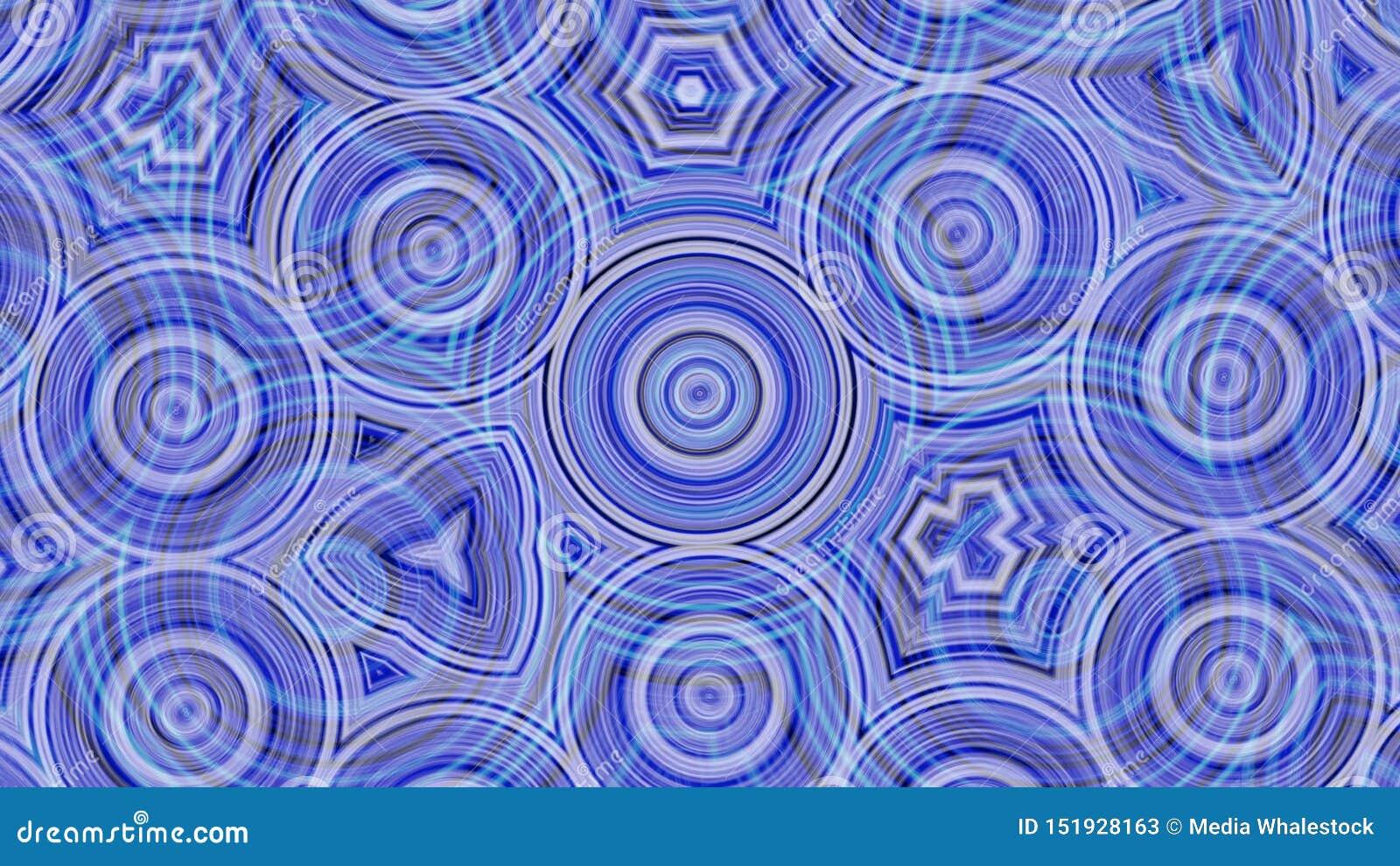 Fundo azul e roxo bonito, abstração do caleidoscópio com mudança e círculos moventes animation Sum?rio