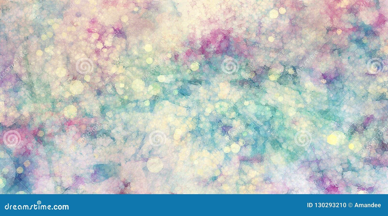 Fundo azul roxo do verde do rosa e o branco com as luzes de vidro da textura e do bokeh borradas em cores macias